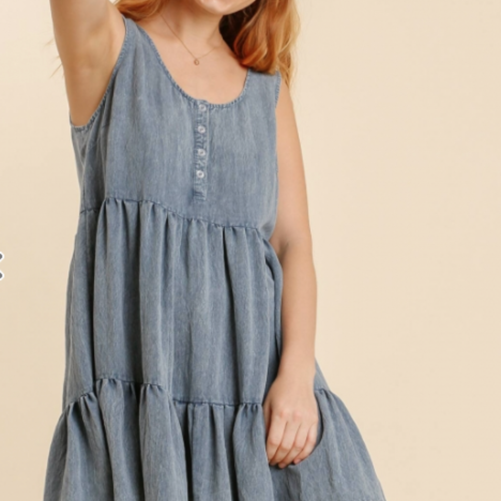 Washed Button Front Sleeveless Tiered Dress