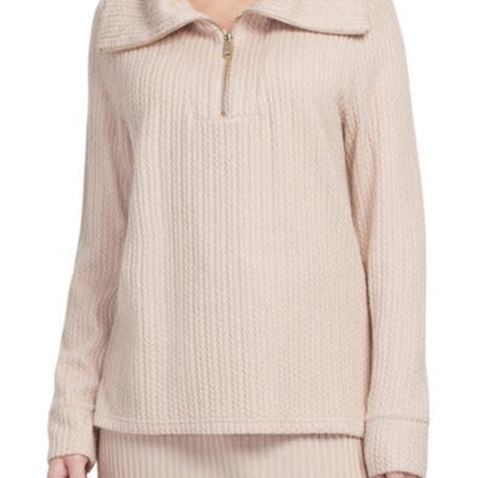 tribal Long Sleeve Funnel Neck Top With Zipper