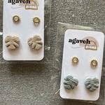 agaveh girl Monstera Set Studs