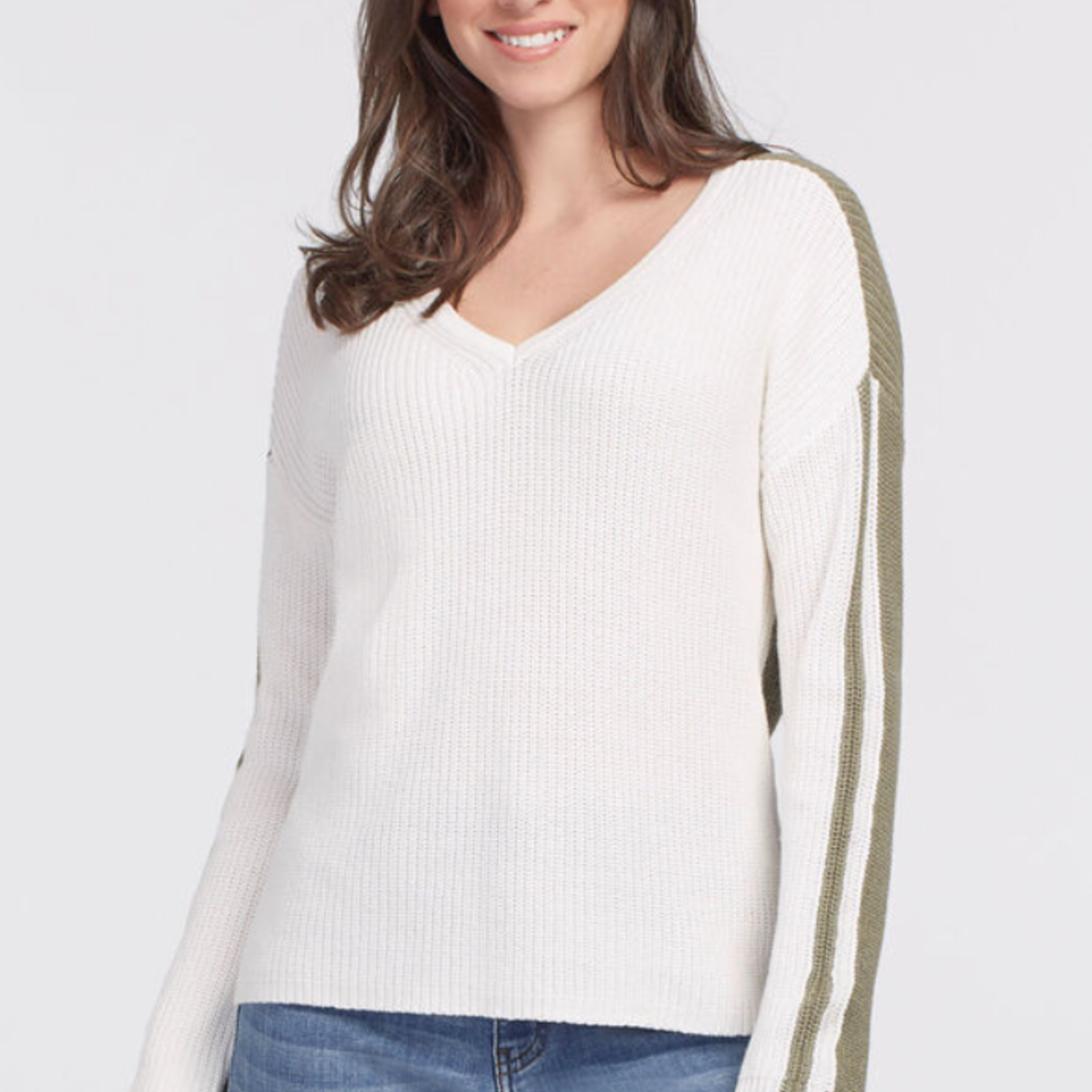 tribal V-neck Sweater with Contrast Back