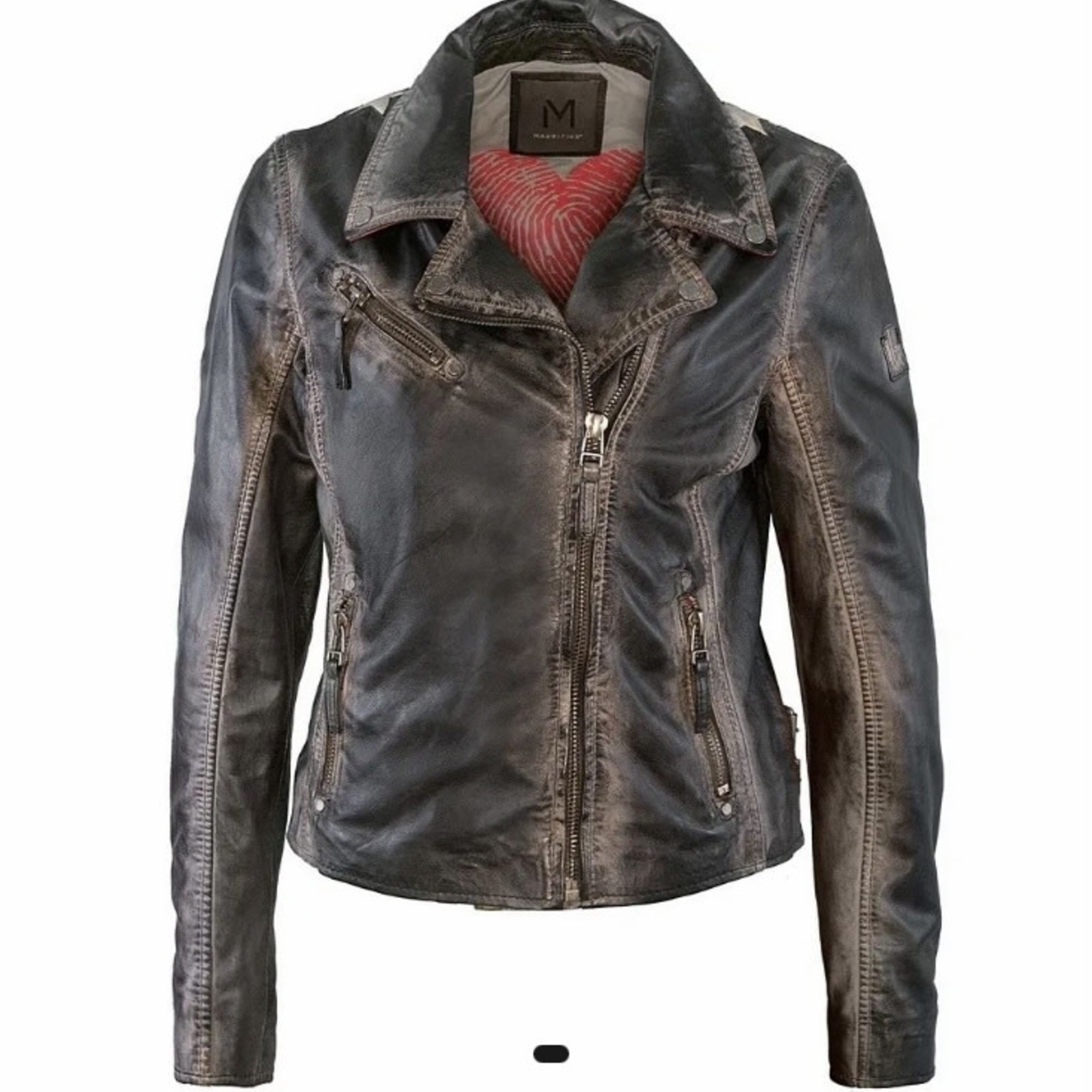 Mauritius Christy Leather Jacket With Red Detail