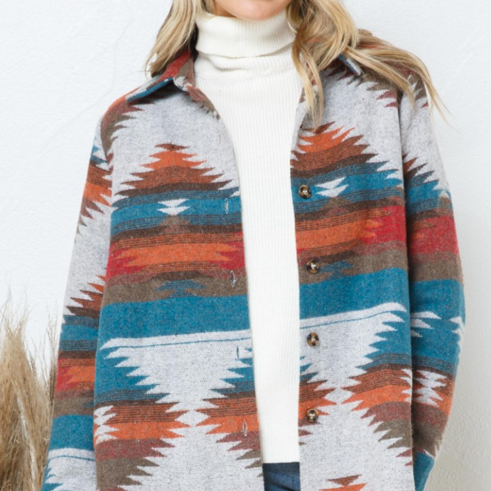 blue b Aztec Pattern Jacket