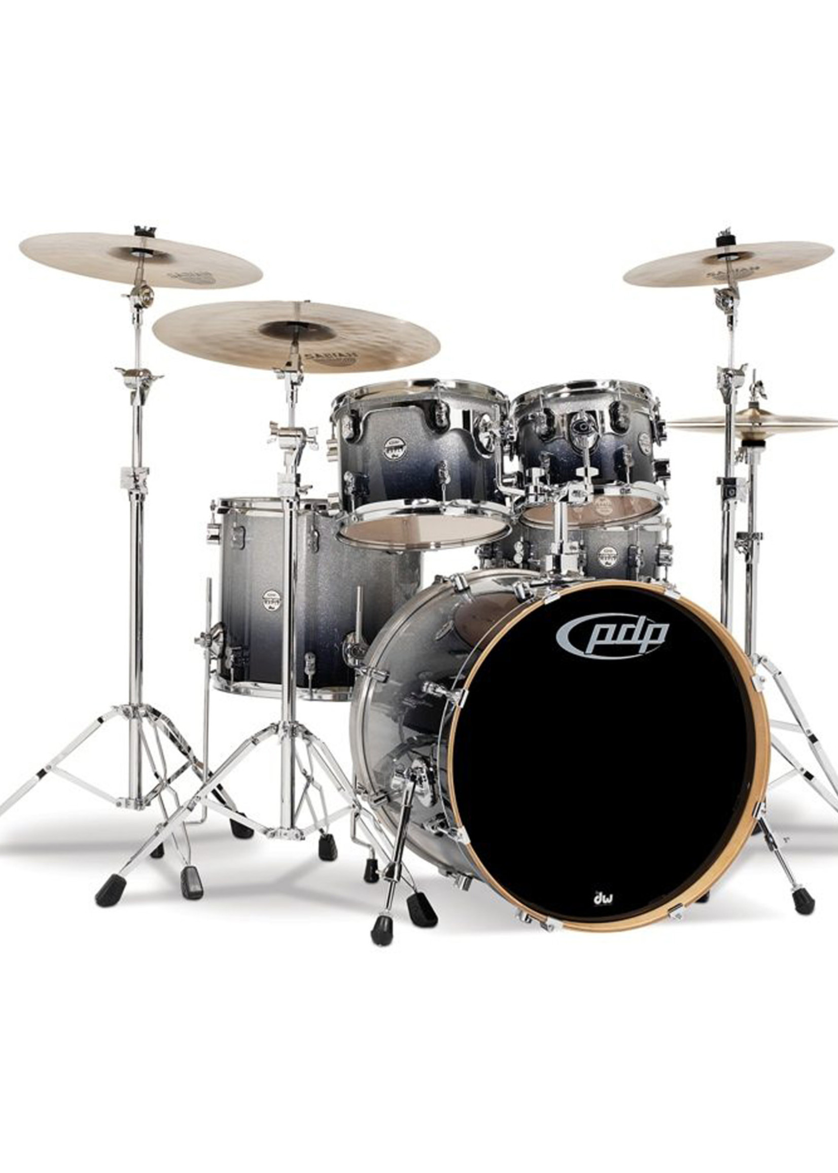 DW PDP Concept Maple 5-Piece Shell Pack Silver to Black Fade