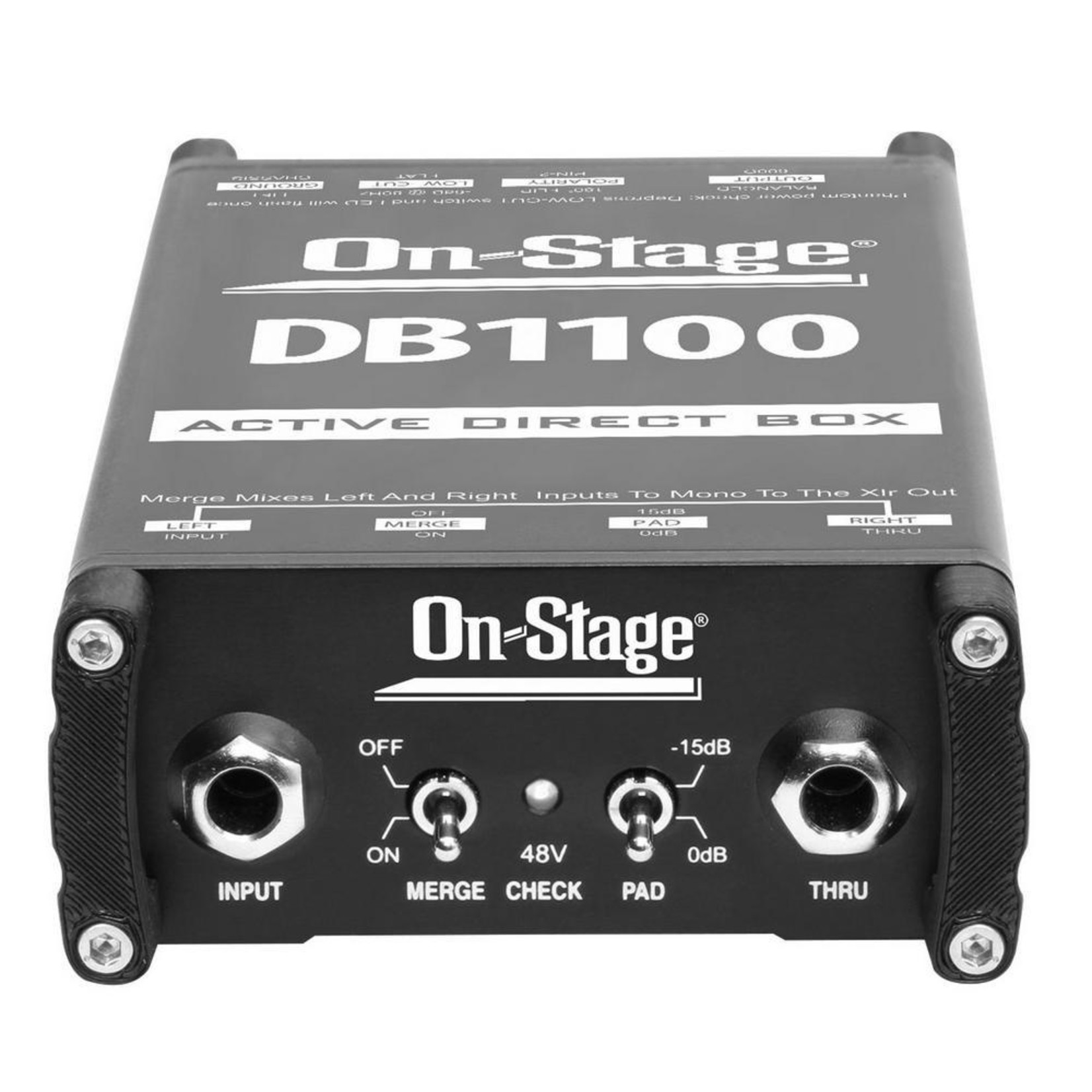 On-Stage On-Stage Active DI Box with Stereo-to-Mono Summing (DB1100)