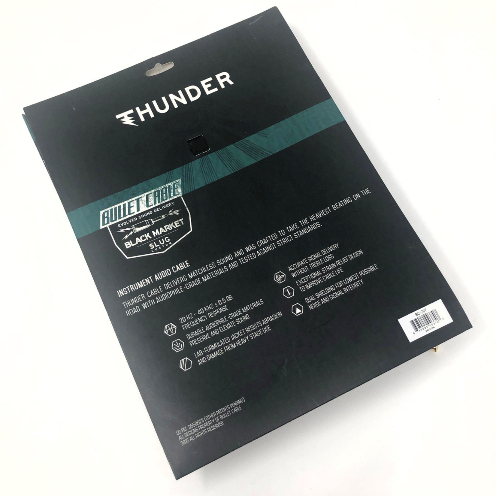 Bullet Cable Bullet Cable - 20-foot (6m) THUNDER Black Instrument Cable, Straight Plugs