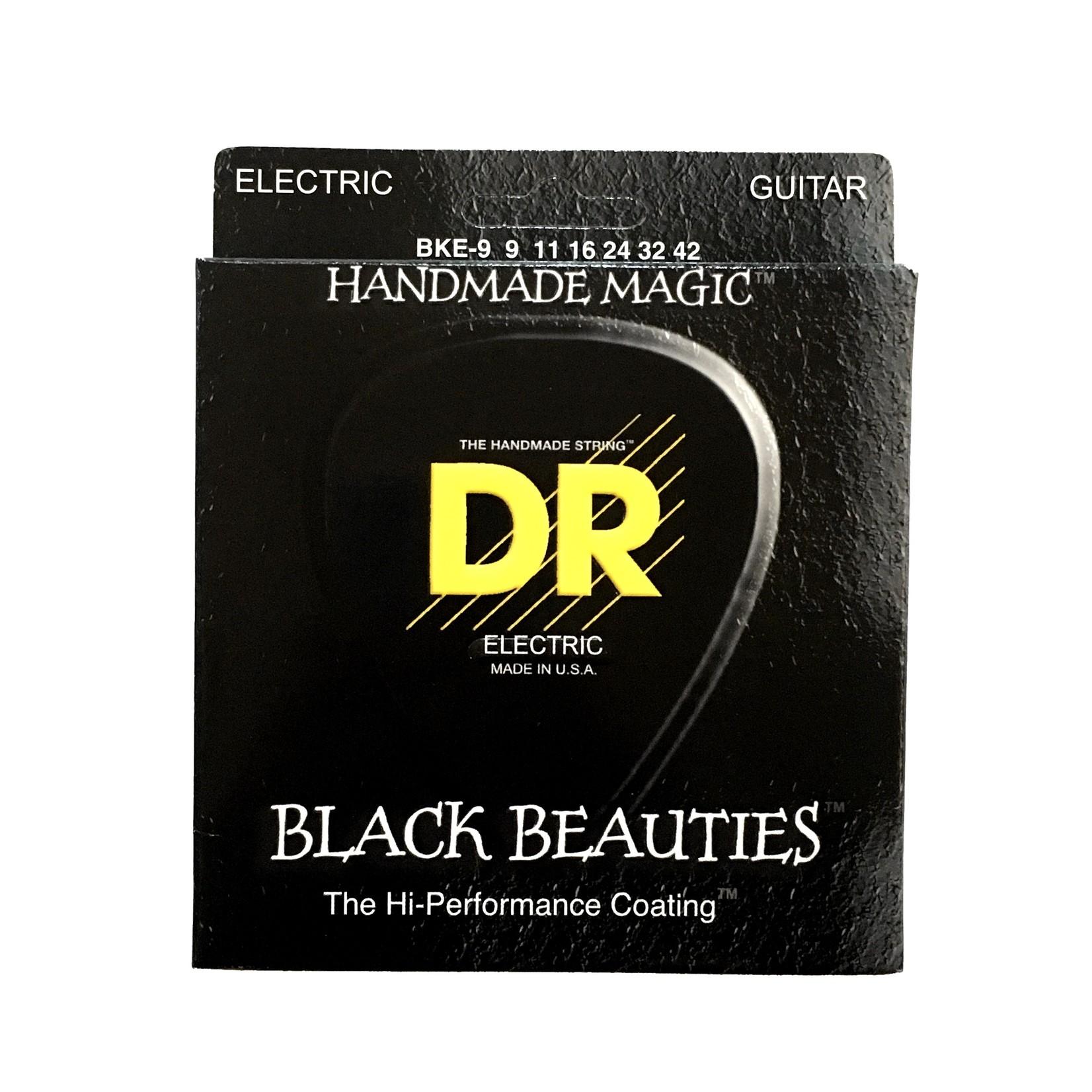 DR Strings 3x (three sets) DR BKE-9 Black Beauties Electric Guitar Strings (9-42) K3ª Black Coated