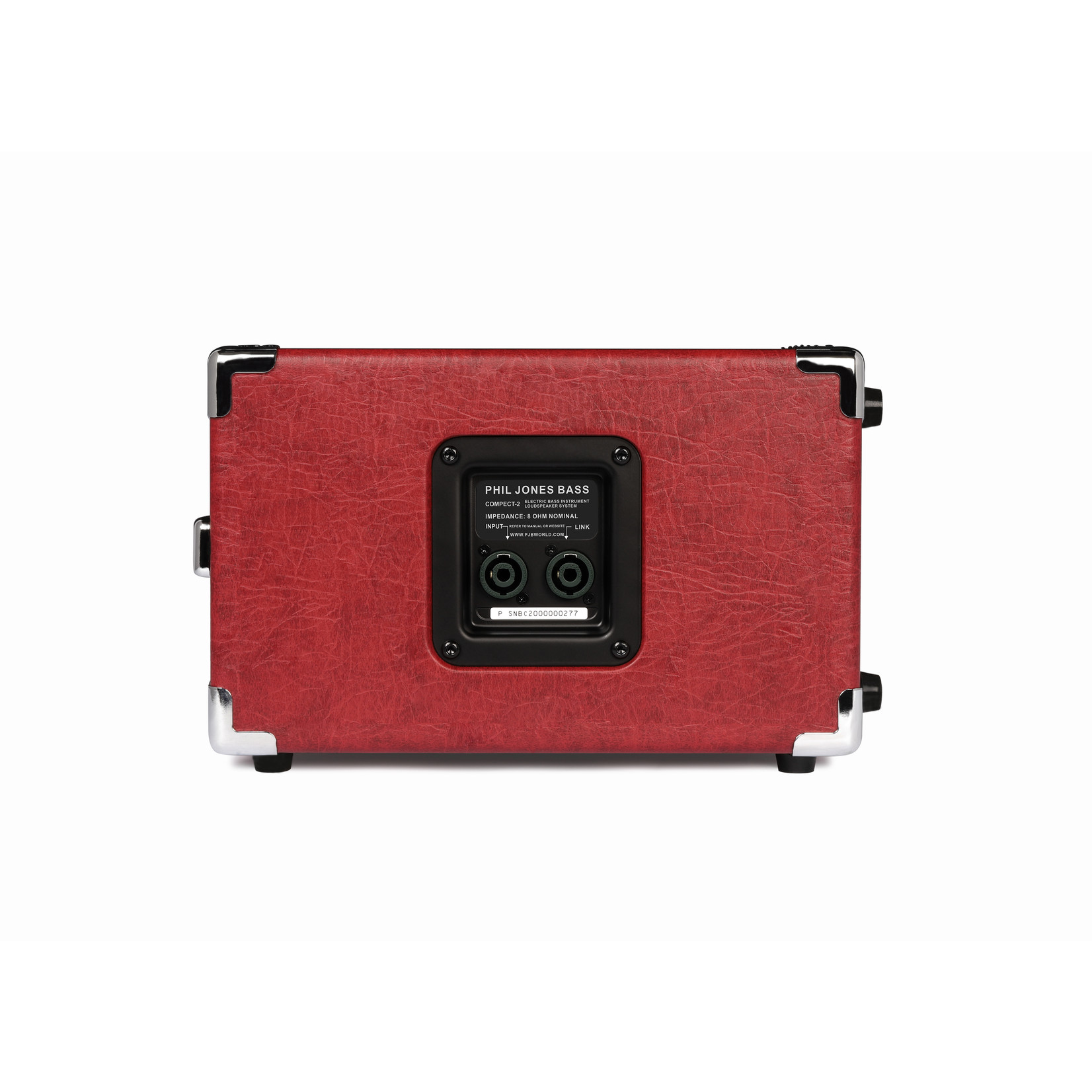 "Phil Jones Phil Jones Compact 2 (C2), 200W 2 x 5"" 8½ (8-ohm), 40Hz-15KHz, ""Piranha"" Series Bass Cabinet, Red"