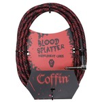 "Coffin Case Coffin 10 ft ""Blood Splatter"" Red & Black Woven Instrument Cable, 1/4""-1/4"" Rt Angle (Goth!)"