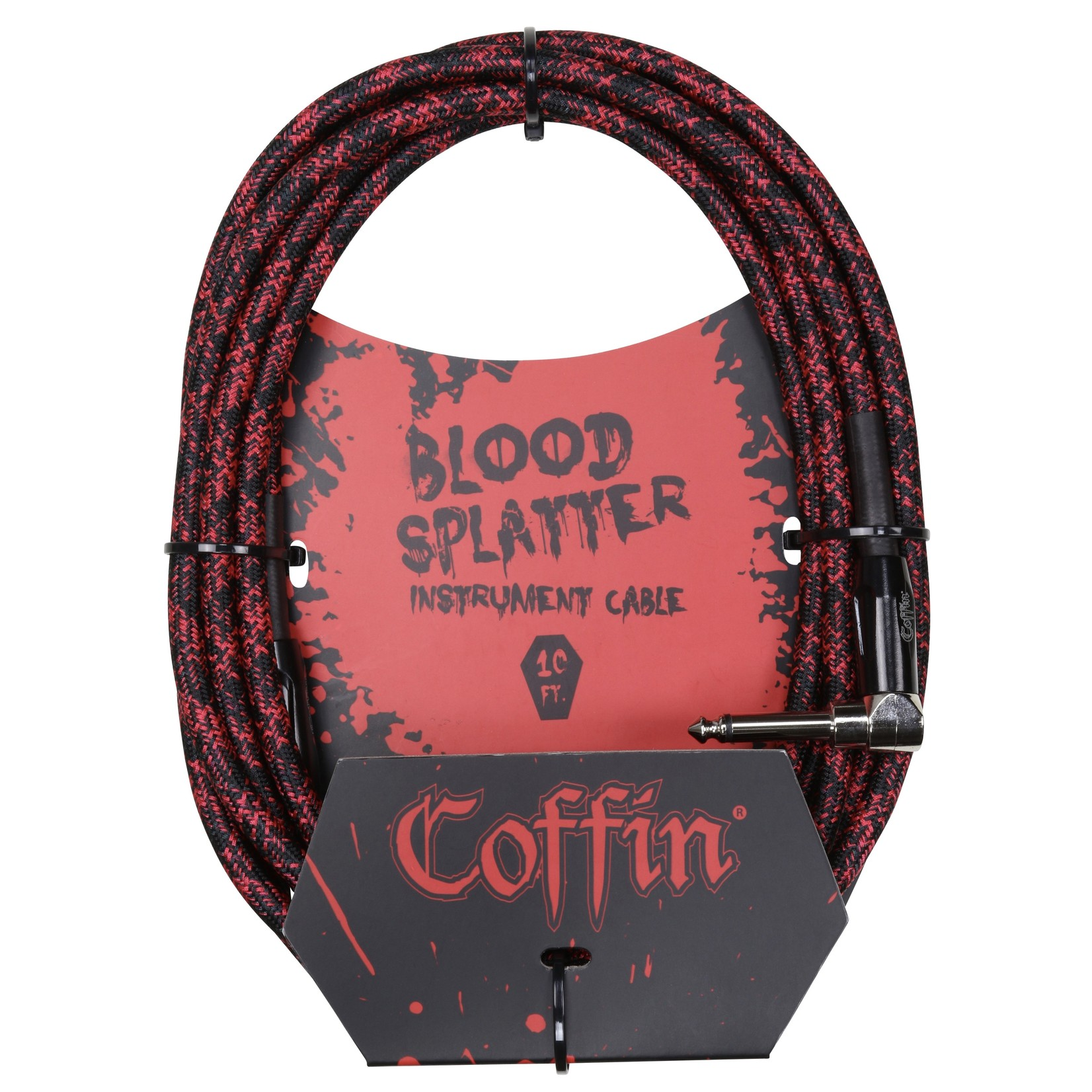 """Coffin Case Coffin 10 ft """"Blood Splatter"""" Red & Black Woven Instrument Cable, 1/4""""-1/4"""" Rt Angle (Goth!)"""