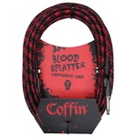 "Coffin Case Coffin 20-ft ""Blood Splatter"" (Red & Black) Woven Instrument Cable, 1/4"" Straight Plugs (Goth!)"