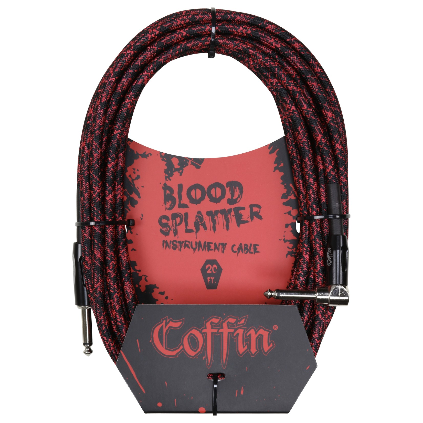 """Coffin Case Coffin 20-foot """"Blood Splatter"""" (Red & Black) Woven Instrument Cable, 1/4""""-1/4"""" Right Angle (Goth!)"""