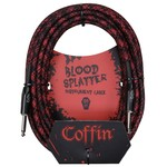 "Coffin Case Coffin 25-ft ""Blood Splatter"" (Red & Black) Woven Instrument Cable, 1/4"" Straight Plugs (Goth!)"