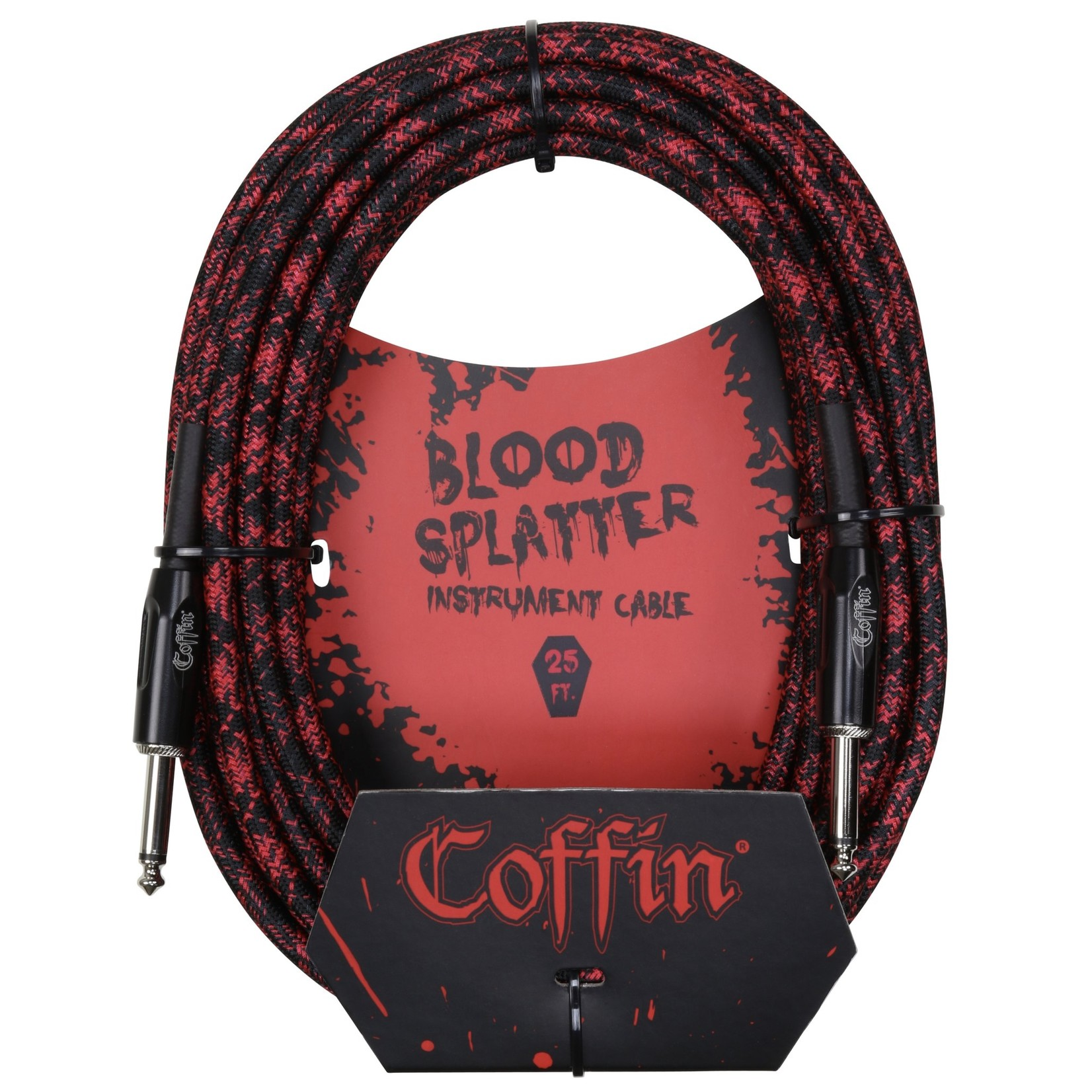 """Coffin Case Coffin 25-ft """"Blood Splatter"""" (Red & Black) Woven Instrument Cable, 1/4"""" Straight Plugs (Goth!)"""
