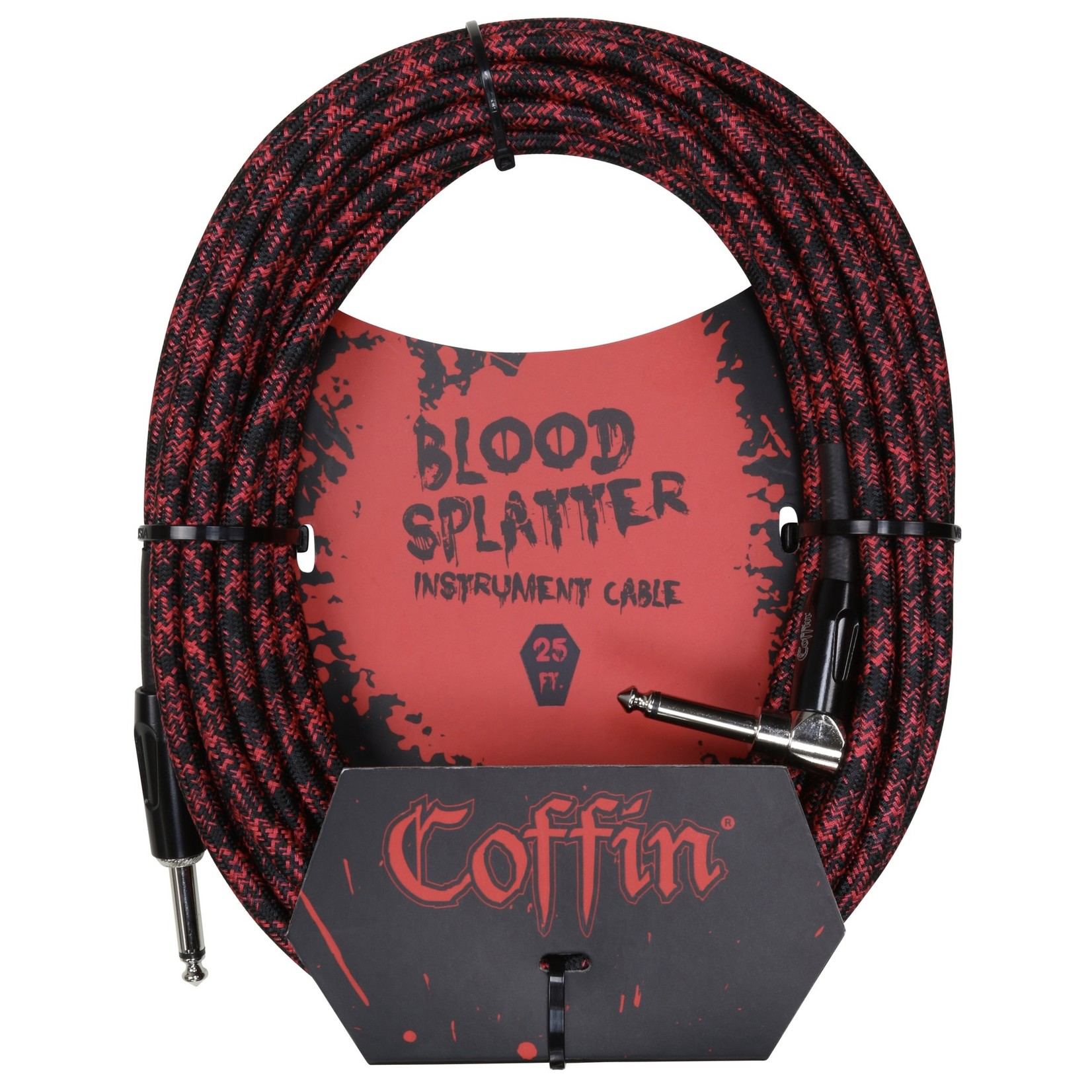 "Coffin Case Coffin 25-foot ""Blood Splatter"" (Red & Black) Woven Instrument Cable, 1/4""-1/4"" Right Angle (Goth!)"