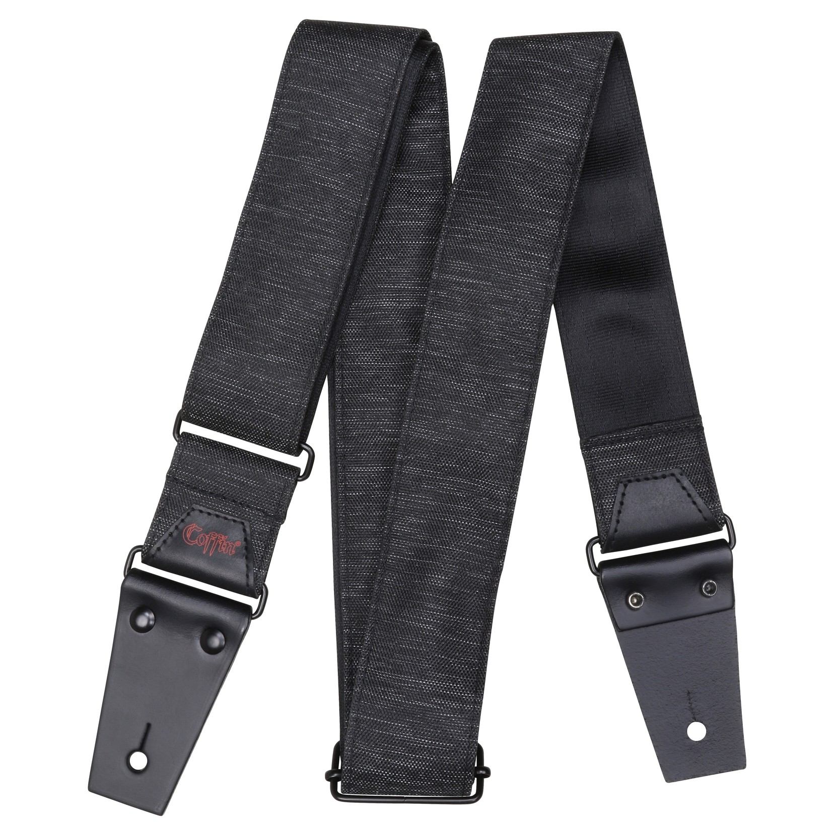 """Coffin Case Coffin """"The Pallbearer"""" Guitar Strap, Heathered Charcoal Gray fabric with black leather tips"""