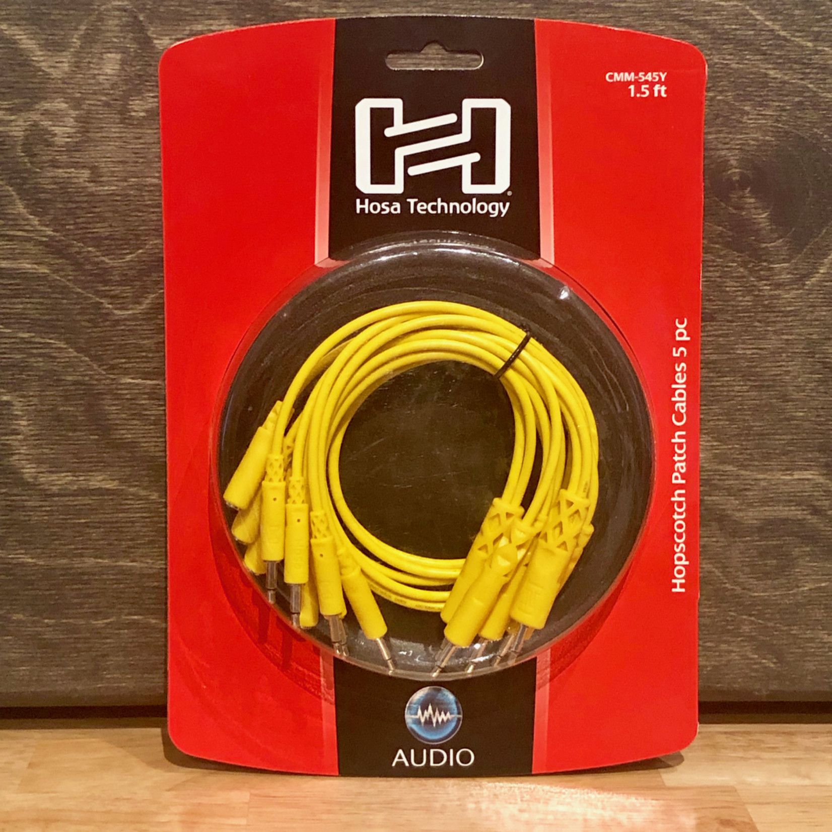 Hosa Hosa Hopscotch Patch Cables 5pc x 1.5ft (45cm yellow), 3.5mm TS   TSF Pigtail to 3.5 mm TS, Eurorack