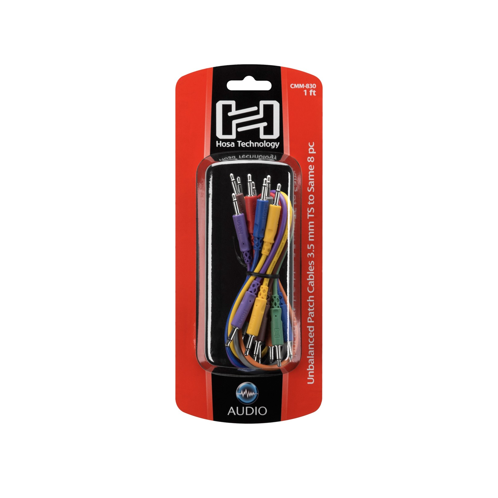Hosa Hosa Unbalanced Patch Cables, 3.5 mm TS (mono), 1 ft, Assorted Colors, Great for Modular/Eurorack
