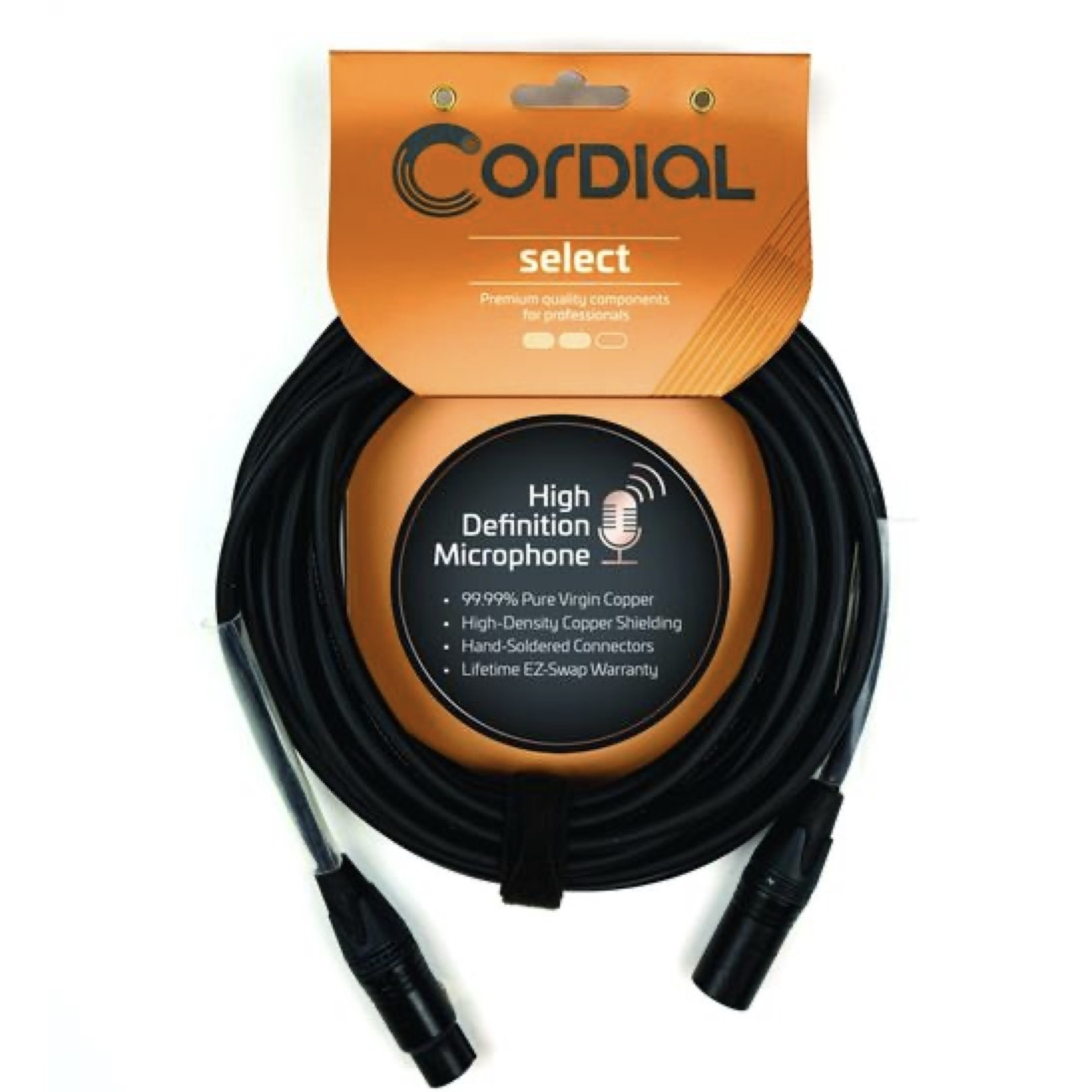 Cordial Cables Cordial Cables Premium Microphone Cable with Balanced XLR Connectors, Select Series - 25-Foot Black Cable (7.5 FM)