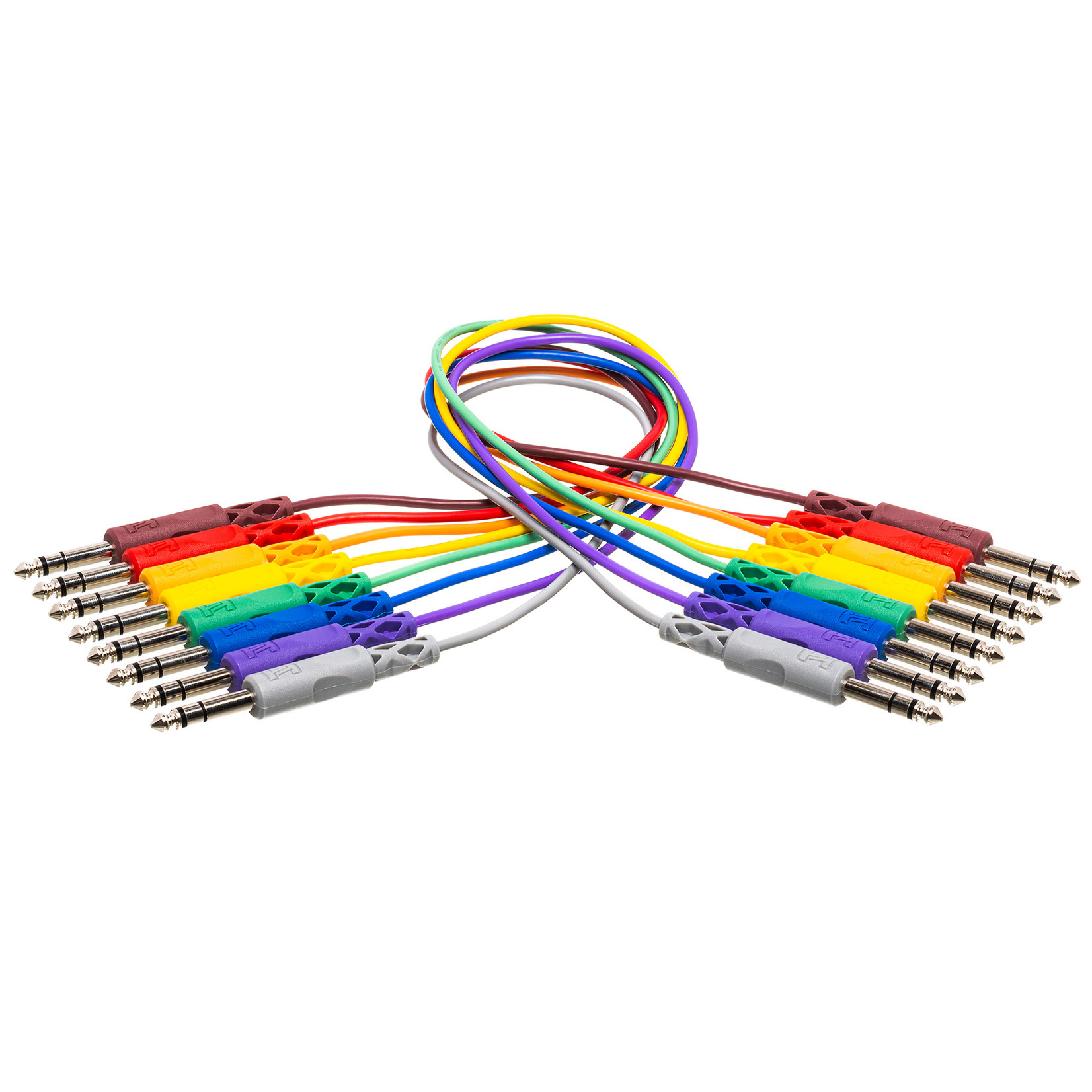 """Hosa Hosa CSS845 8-Pack of 1.5-Foot (18"""") Patch Cables w/ 1/4"""" Balanced/TRS/Stereo Plugs, Assorted Colors"""