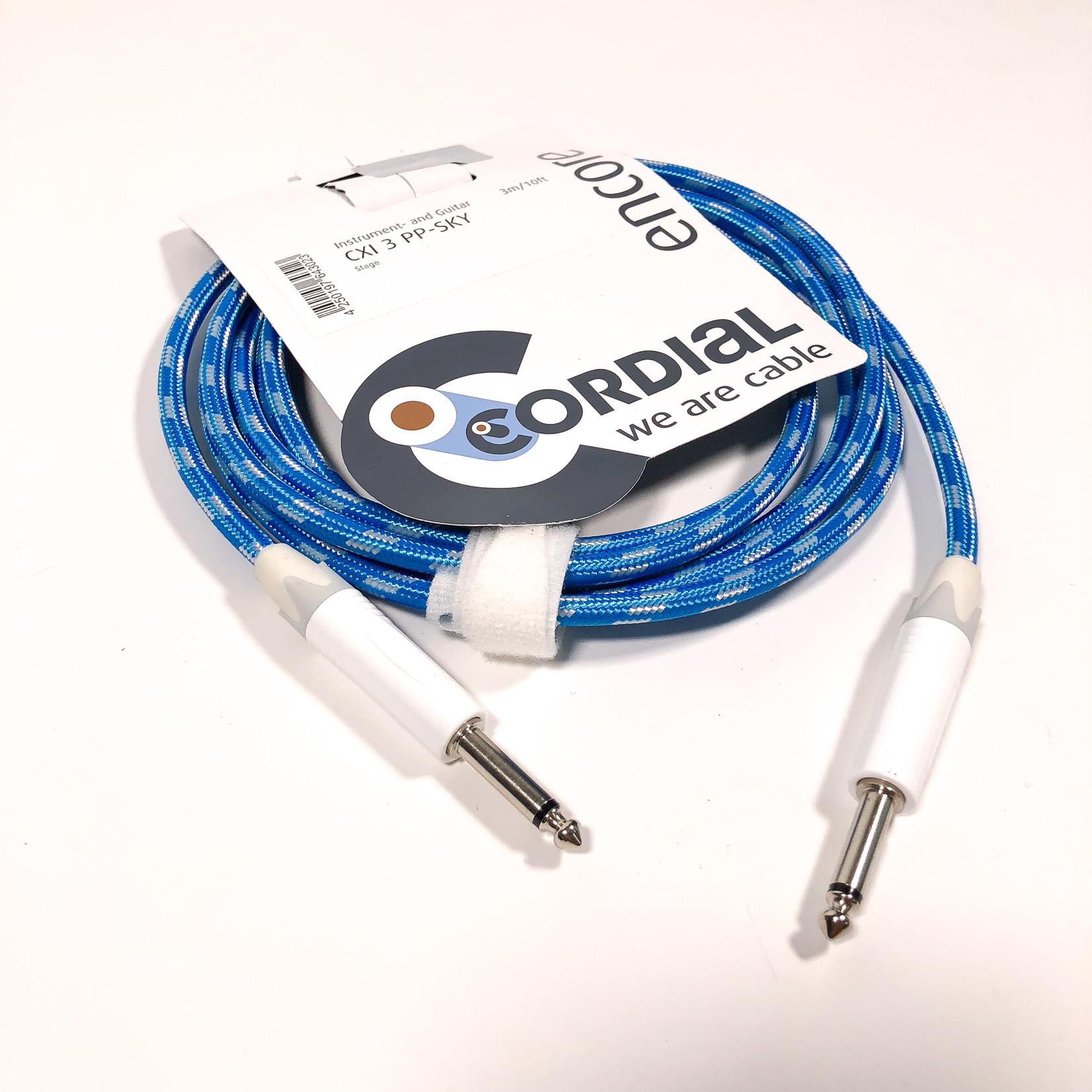 Cordial Cables Cordial 3m /~10ft Instrument Cable for Stage, 1/4'' Neutrik NP2 Connectors, CXI 3 PP-SKY (Germany)