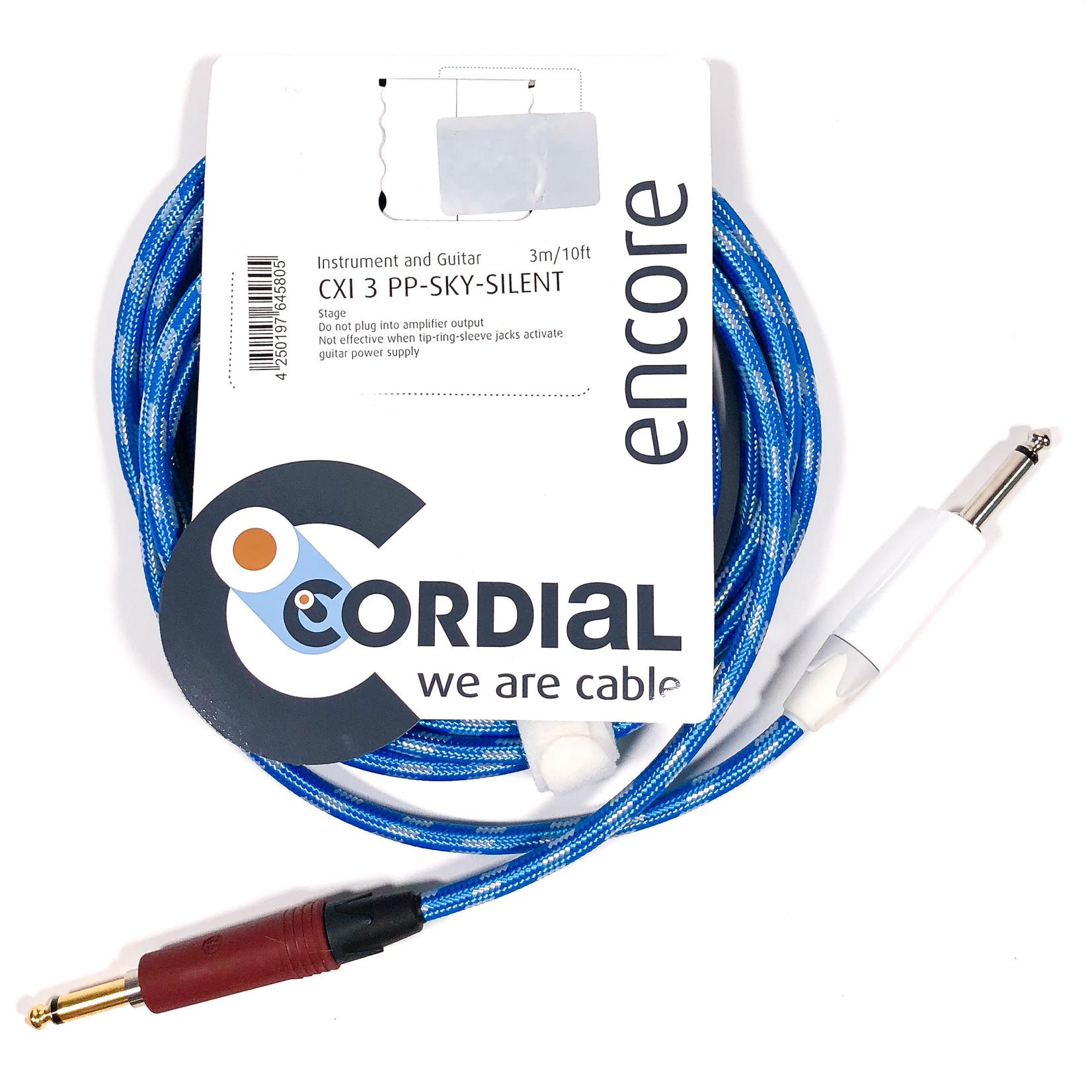 Cordial Cables Cordial 3m /~10ft Inst. Cable, 1/4'' Neutrik Conns. w/ silentPLUG , CXI 3 PP-SKY-SILENT (Germany)