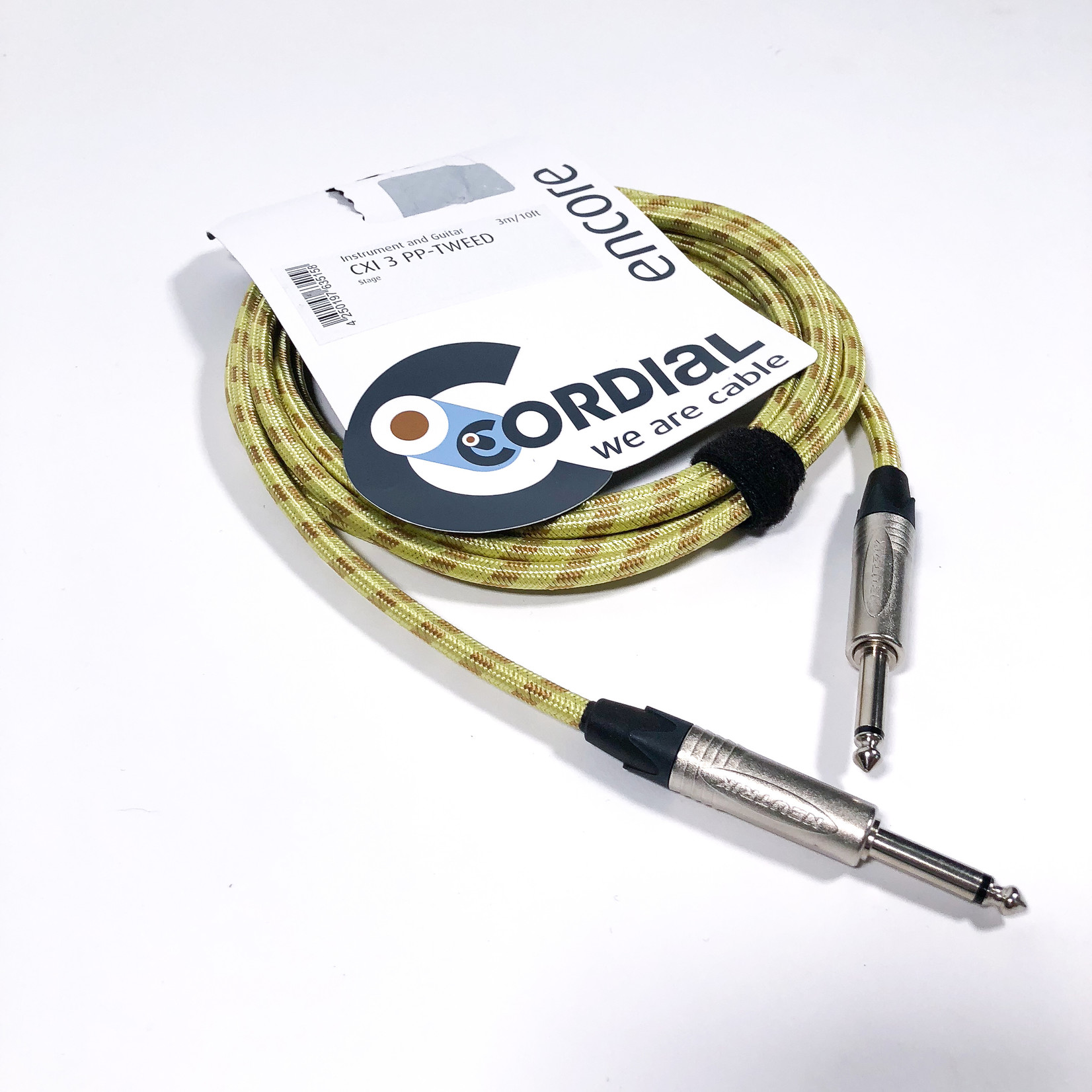 Cordial Cables Cordial 3m /~10ft Instrument Cable for Stage, 1/4'' Neutrik NP2X Connectors, CXI 3 PP-TWEED (Germany)