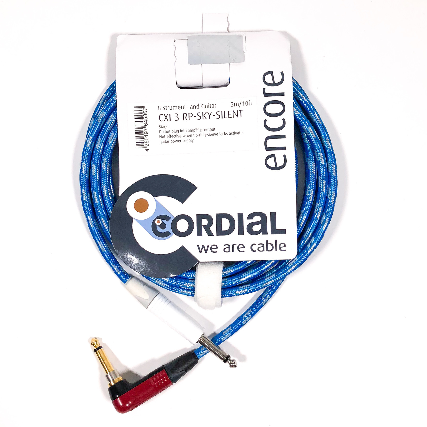 Cordial Cables Cordial 3m /~10ft Inst. Cable, 1/4'' Neutrik Conns. w/ RA silentPLUG , CXI 3 RP-SKY-SILENT (Germany)
