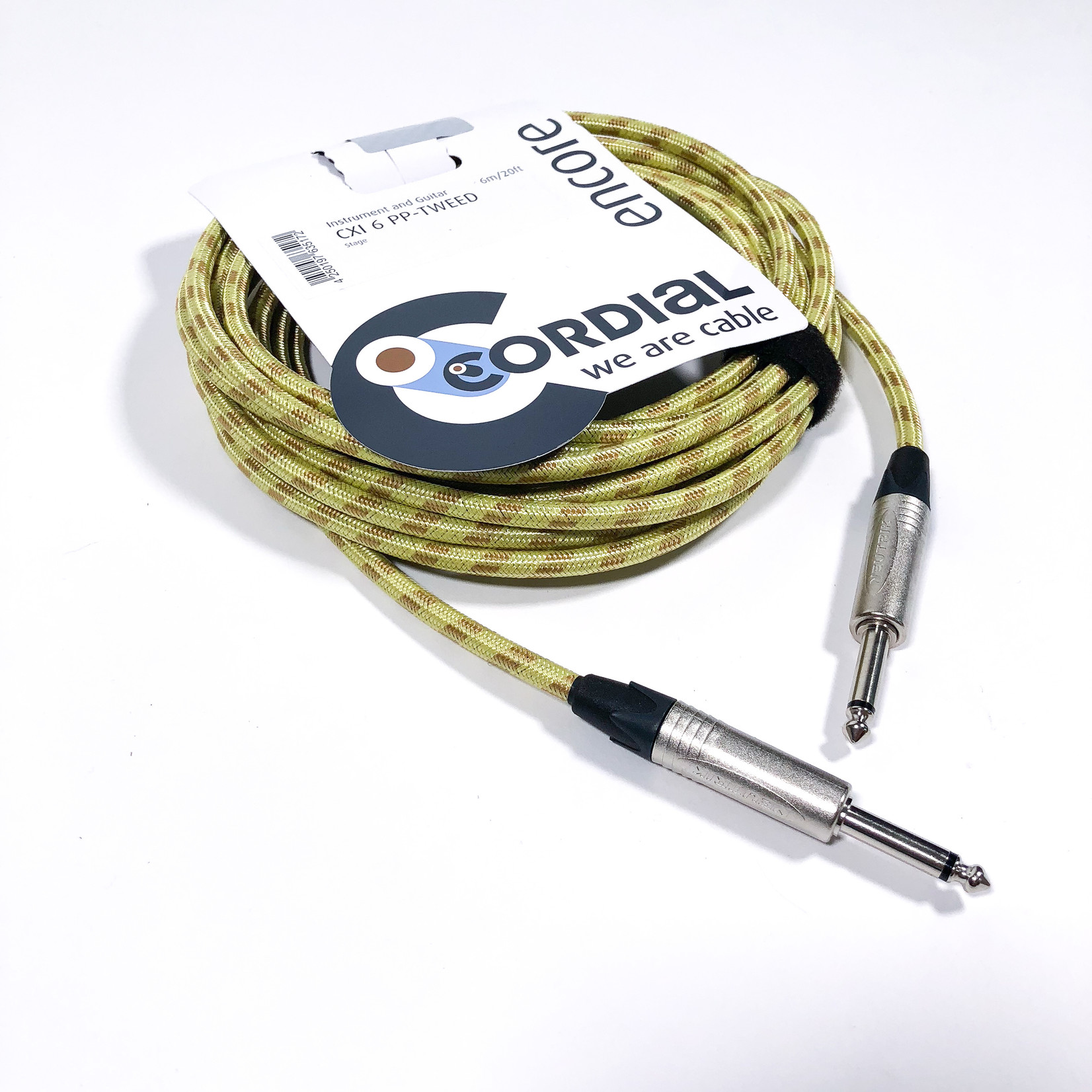 Cordial Cables Cordial 6m /~20ft Instrument Cable for Stage, 1/4'' Neutrik NP2X Connectors, CXI 6 PP-TWEED (Germany)