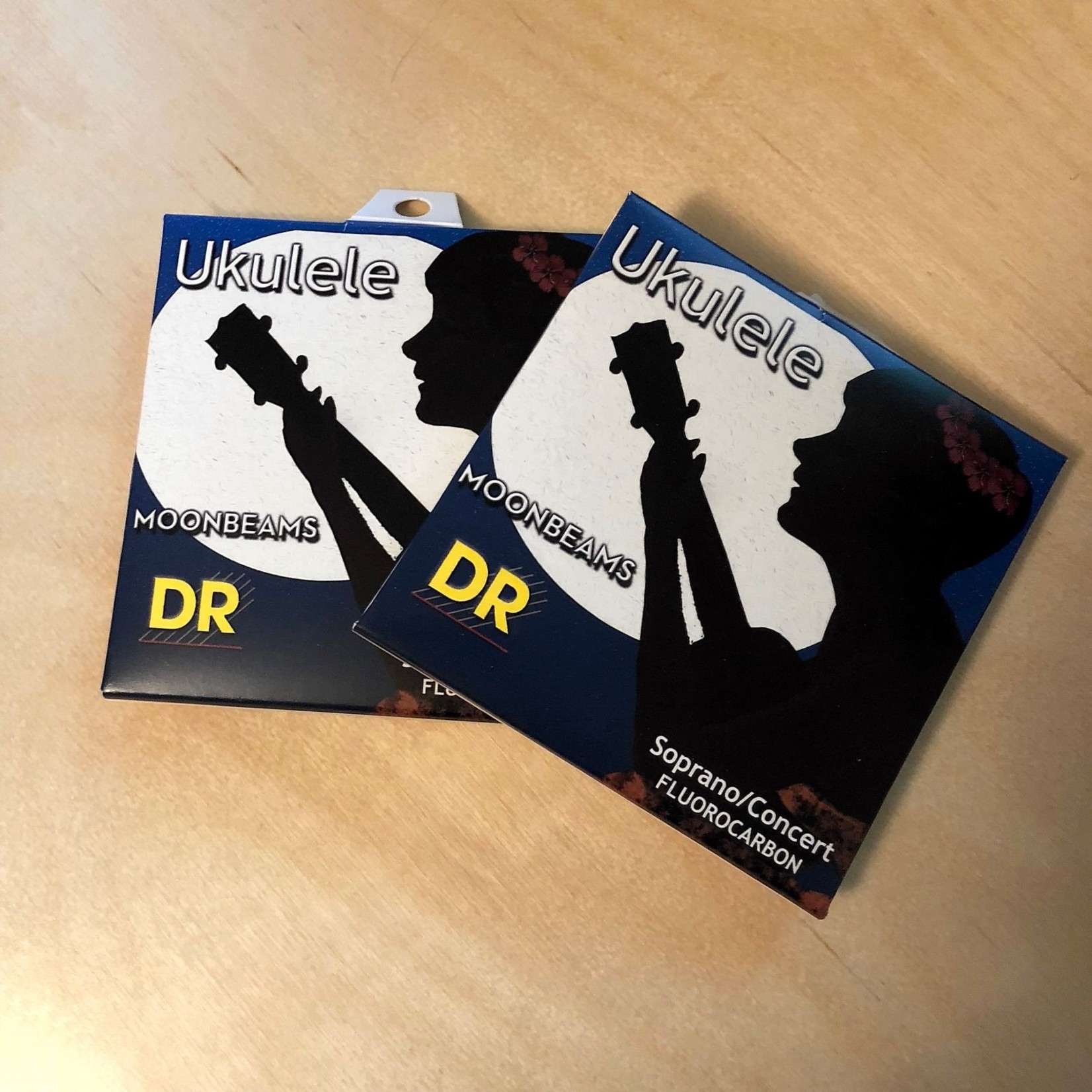 DR Strings 2x (two sets) DR Moonbeams Soprano/Concert Ukulele Strings, Clear Fluorocarbon