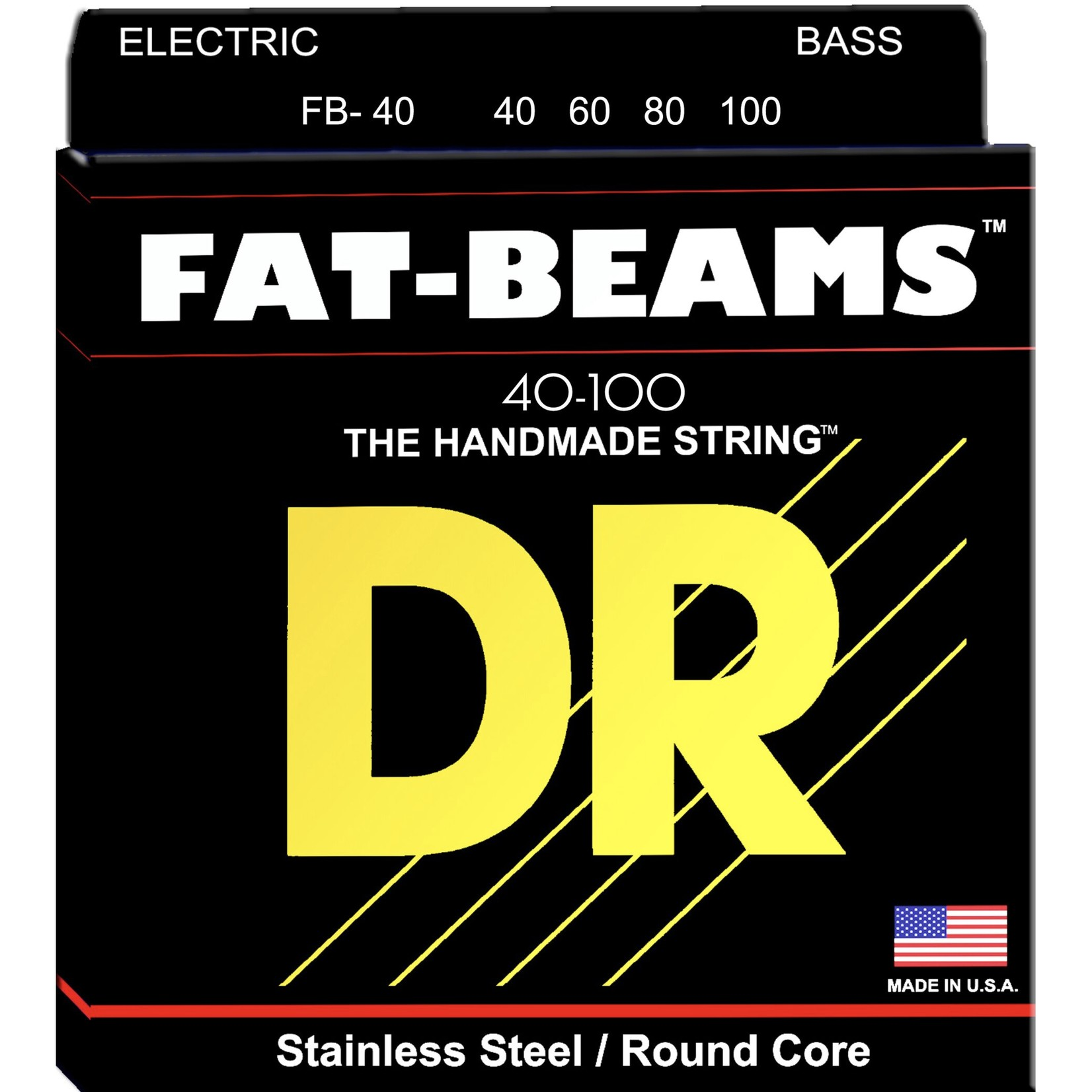DR Strings DR Strings FB-40 Fat-Beams Stainless Steel / Round Core Bass Strings (40-100,  4-String Set)