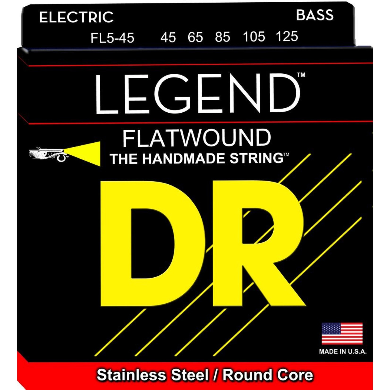 DR Strings DR Strings FL5-45 Legend Flatwound 45-125 Medium 5-String, Stainless Steel / Round Core