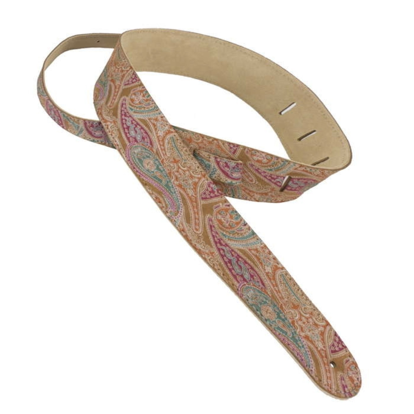 """Henry Heller Henry Heller 2.5"""" Capri Leather Guitar Strap - Brown Paisley with soft buttery Capri suede backing"""