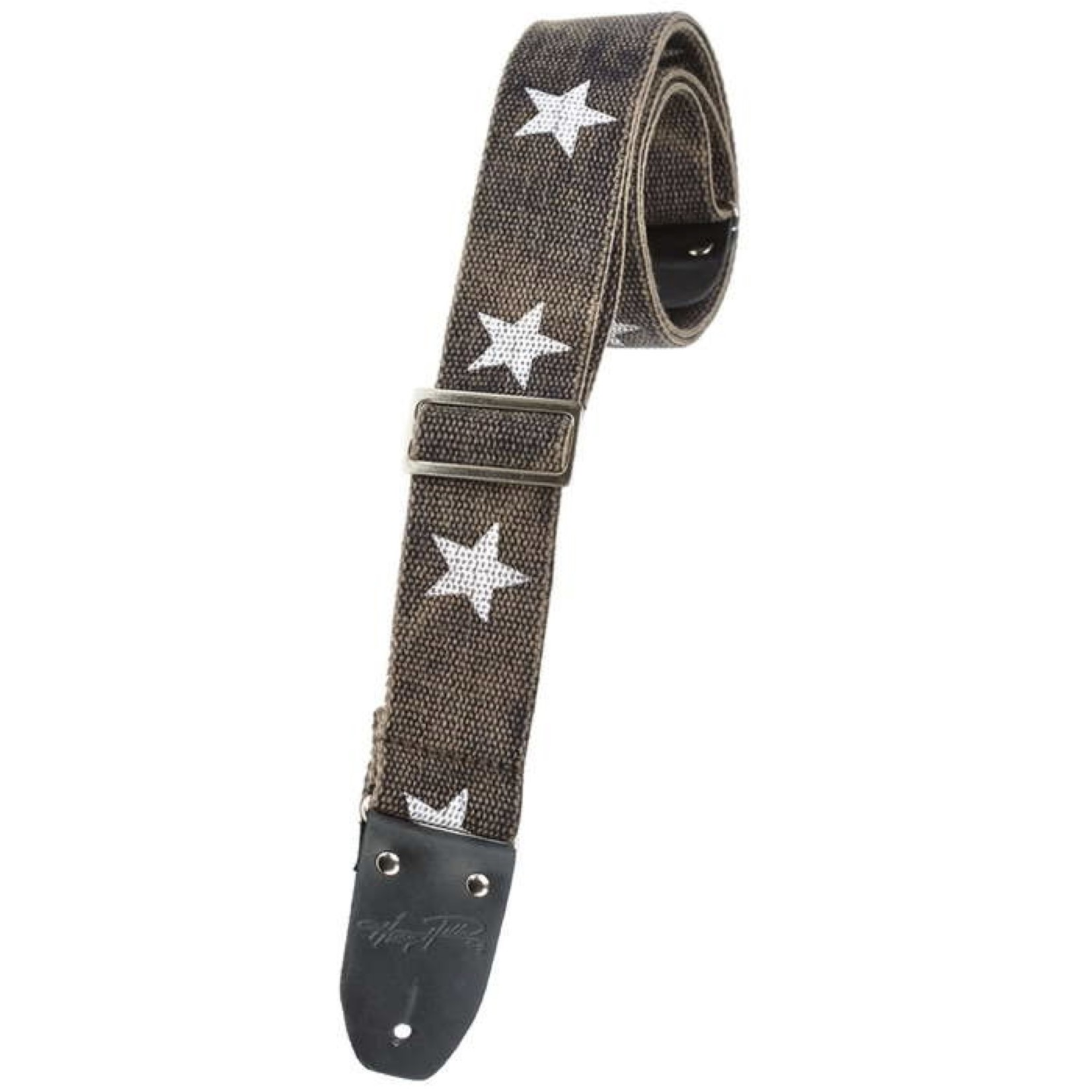 """Henry Heller Henry Heller 2"""" Heavy Cotton Guitar Strap, Distressed Black with Stars, Vintage Style Leather Ends"""
