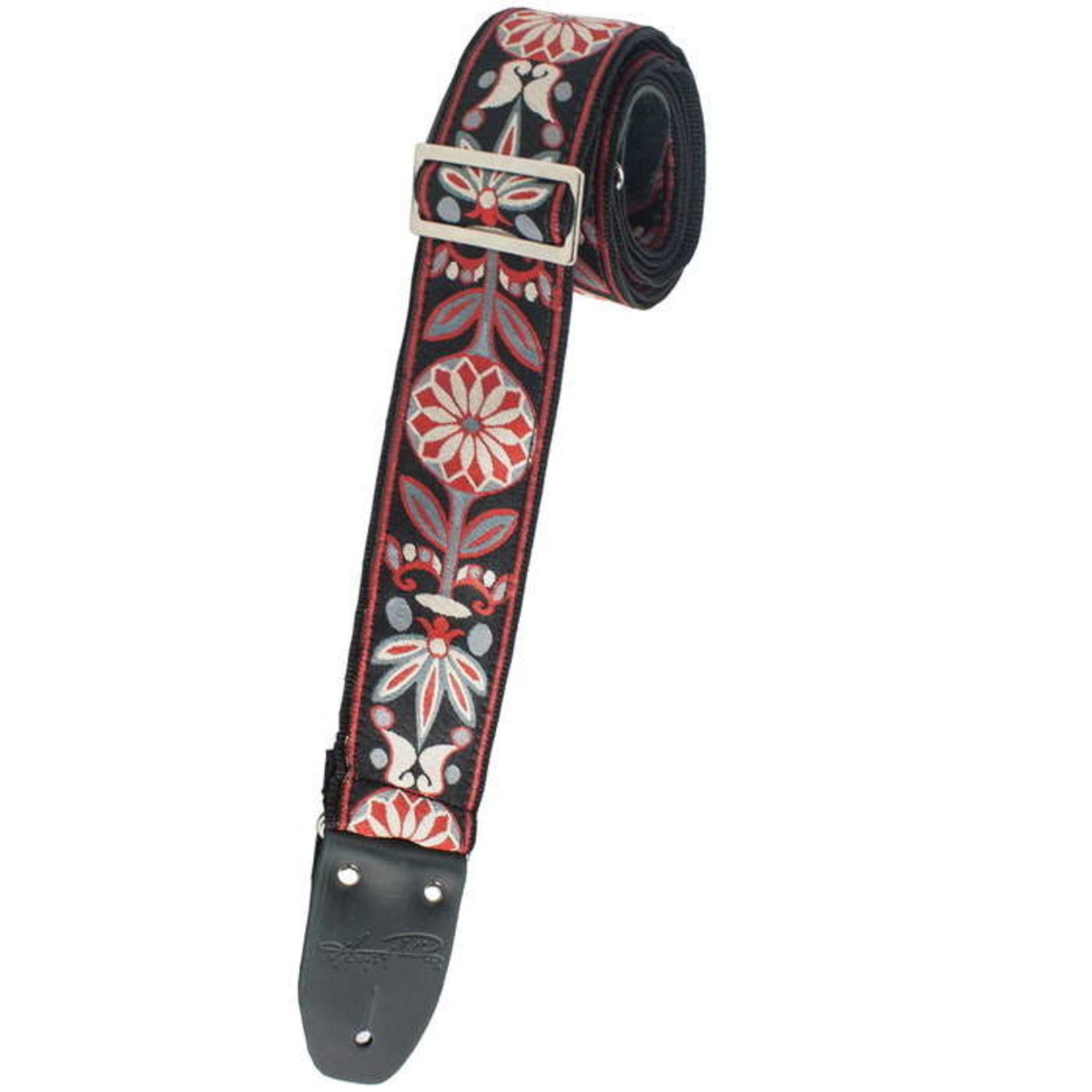 "Henry Heller Henry Heller 2"" Woven Jacquard Strap with Tri Glide and Nylon Backing, Red/Black/Gray  (HJQ2-39)"