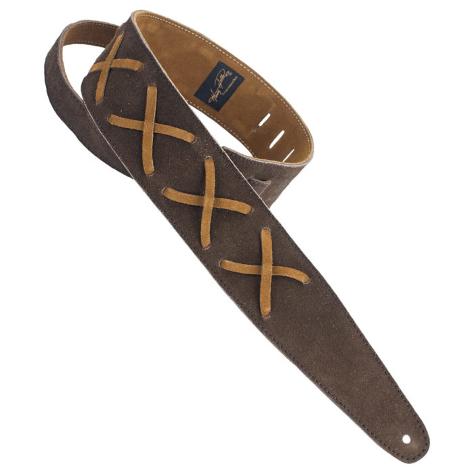 "Henry Heller Henry Heller Premium Suede 2.5"" Guitar Strap with Gilmour-Inspired Leather Lace Xs, Chocolate/Brown"