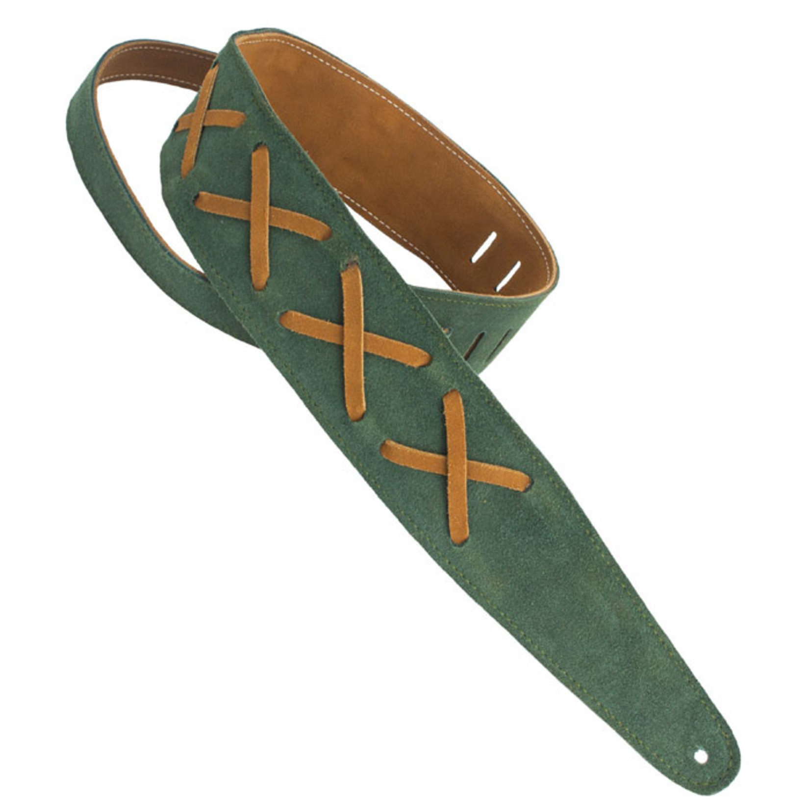 """Henry Heller Henry Heller Premium Suede 2.5"""" Guitar Strap with Gilmour-Inspired Leather Lace Xs, Green/Brown"""