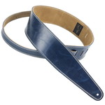 """Henry Heller Henry Heller 2.5"""" Premium Garment Leather Strap w/ Suede Backing, Vintage Blue with Cream Stitching"""