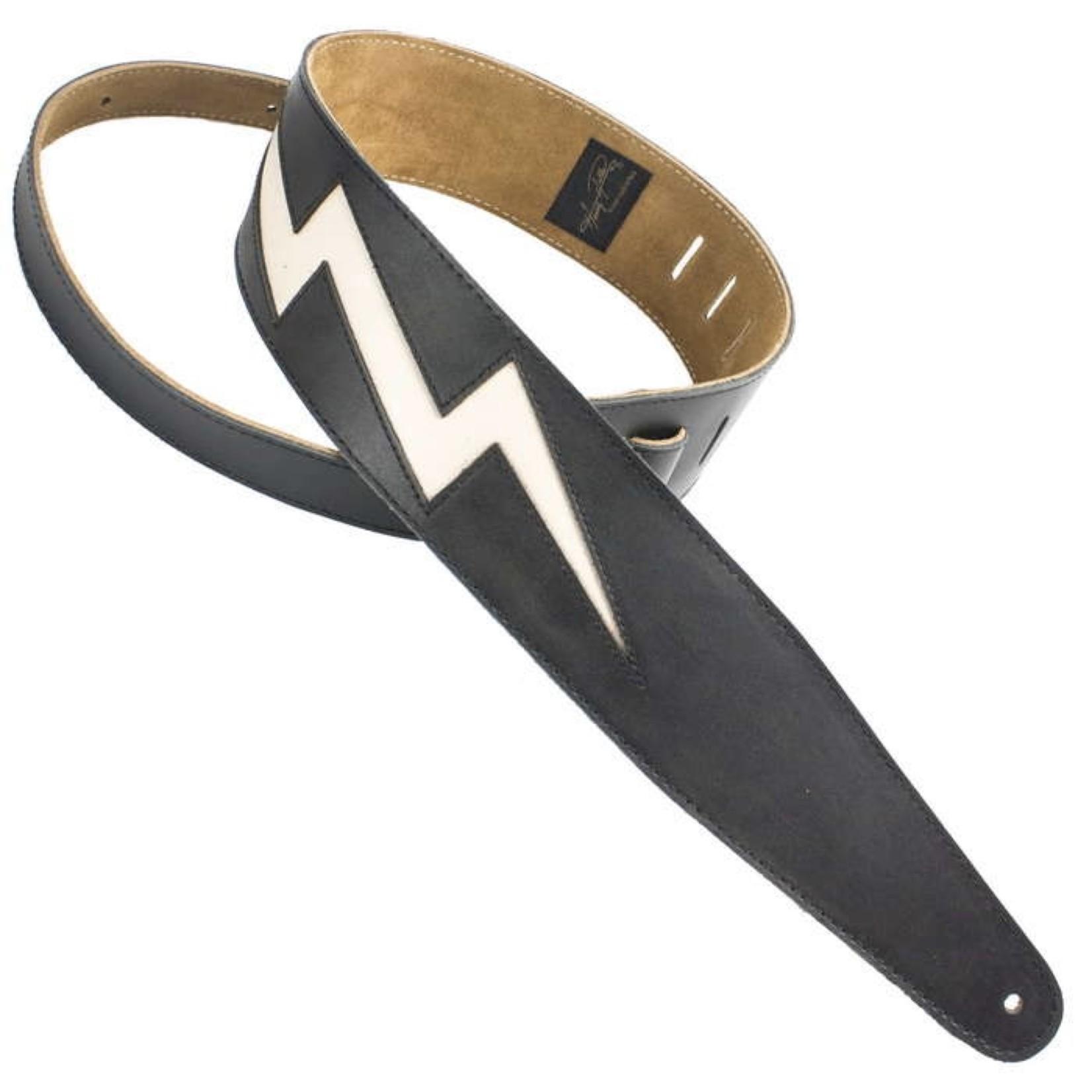 "Henry Heller Henry Heller Peru Black Leather 2.5"" Guitar/Bass Strap with Modern Rocker Bone White Bolt (HPLB-BLK)"