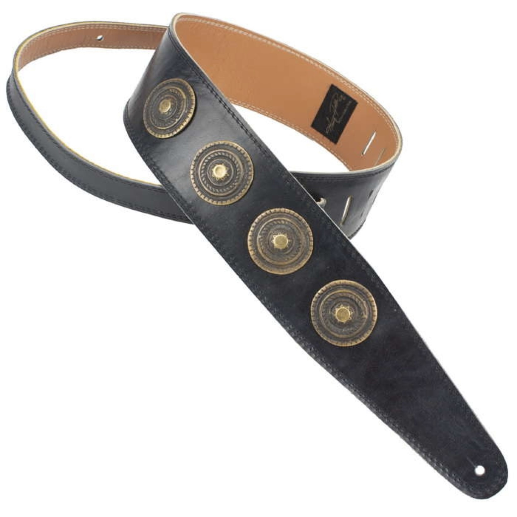 "Henry Heller Henry Heller Peru 2.5"" Antiqued Leather Concho Medallion Guitar/Bass Strap, Black"