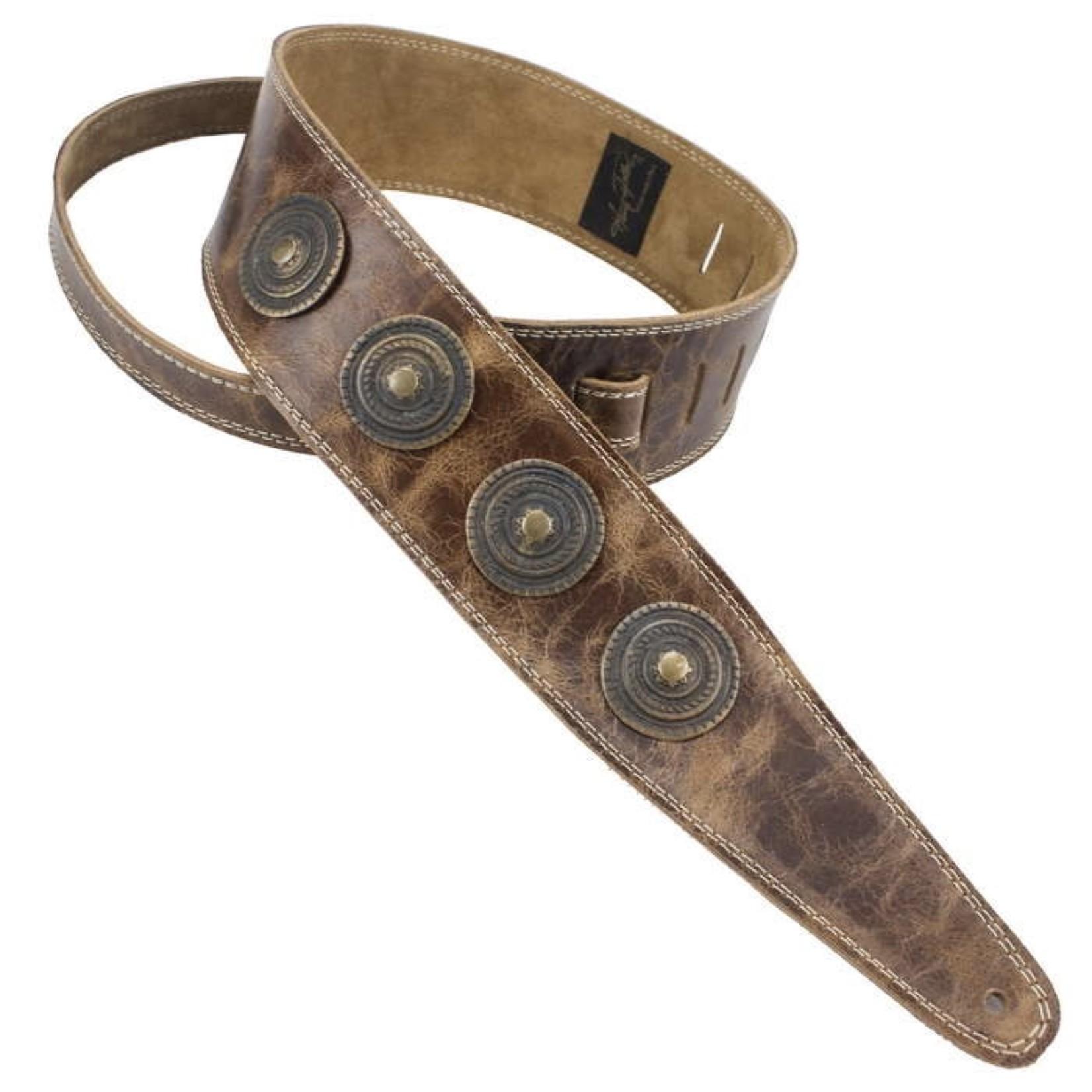 """Henry Heller Henry Heller Peru 2.5"""" Antiqued Leather Concho Medallion Guitar/Bass Strap, Vintage Brown"""