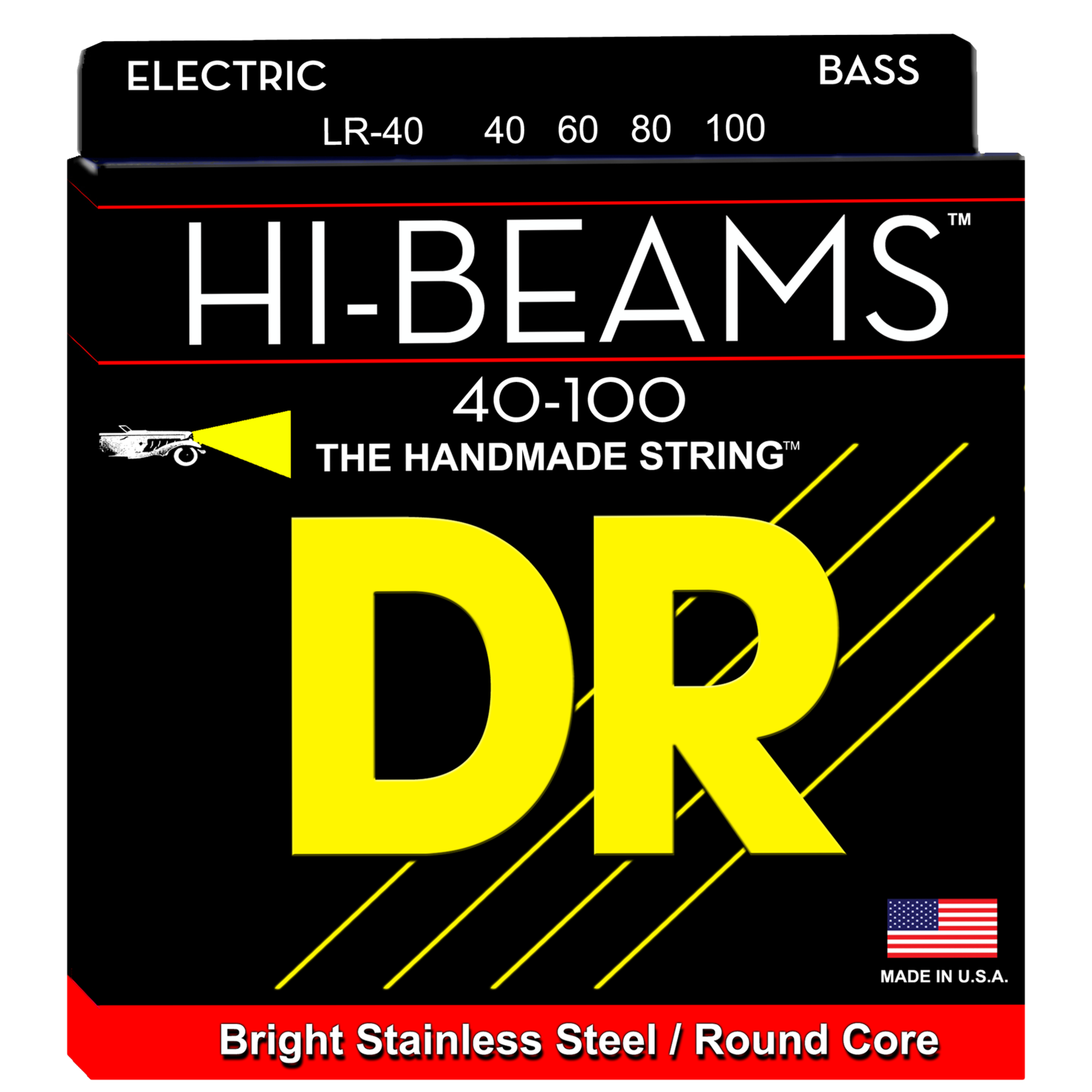 DR Strings DR Strings LR-40 Lite 4-String HI-BEAMS Stainless Steel (Round Core) Bass Strings