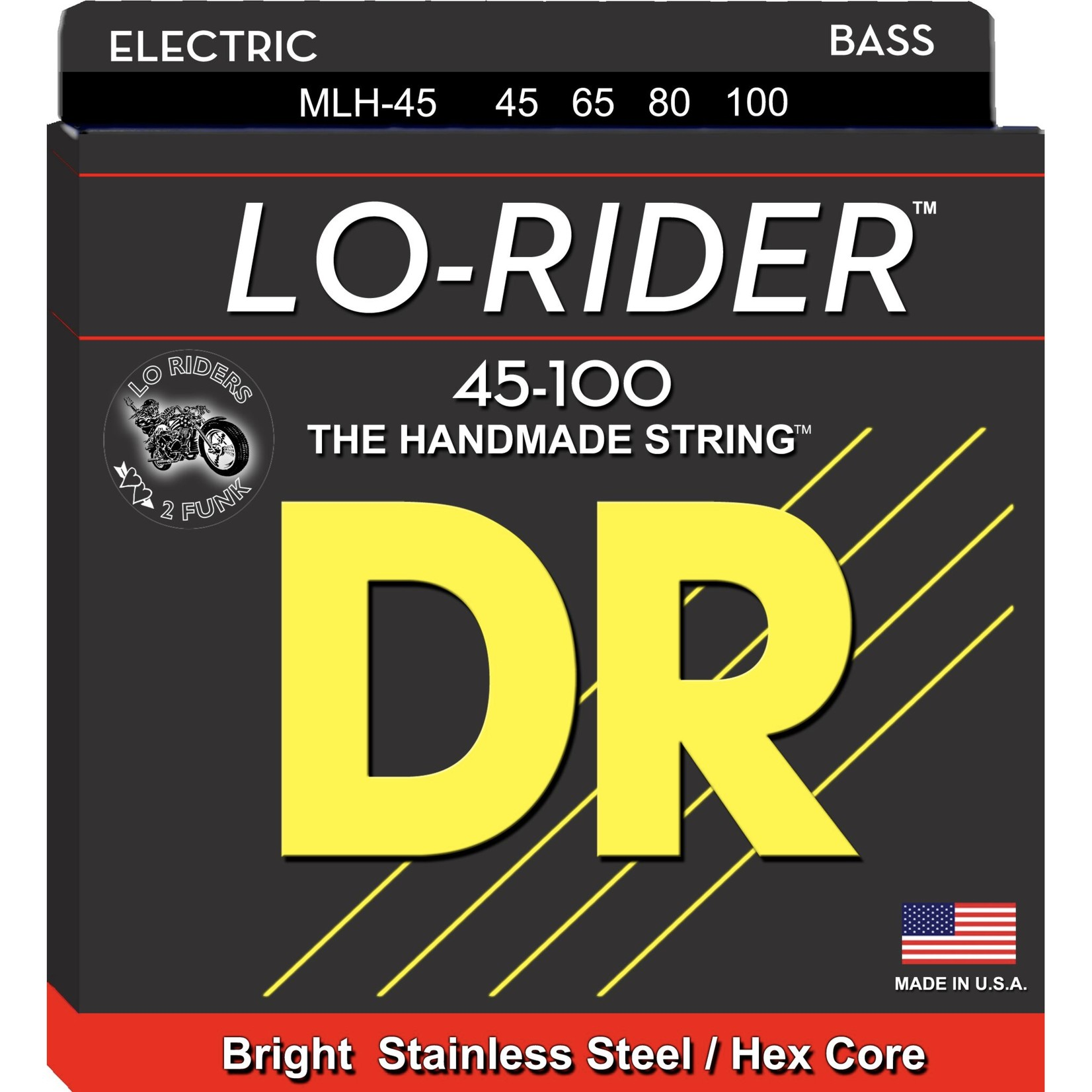 DR Strings DR Strings LO-RIDERª - Stainless Steel Bass Strings: Light to Medium 45-100, MLH-45