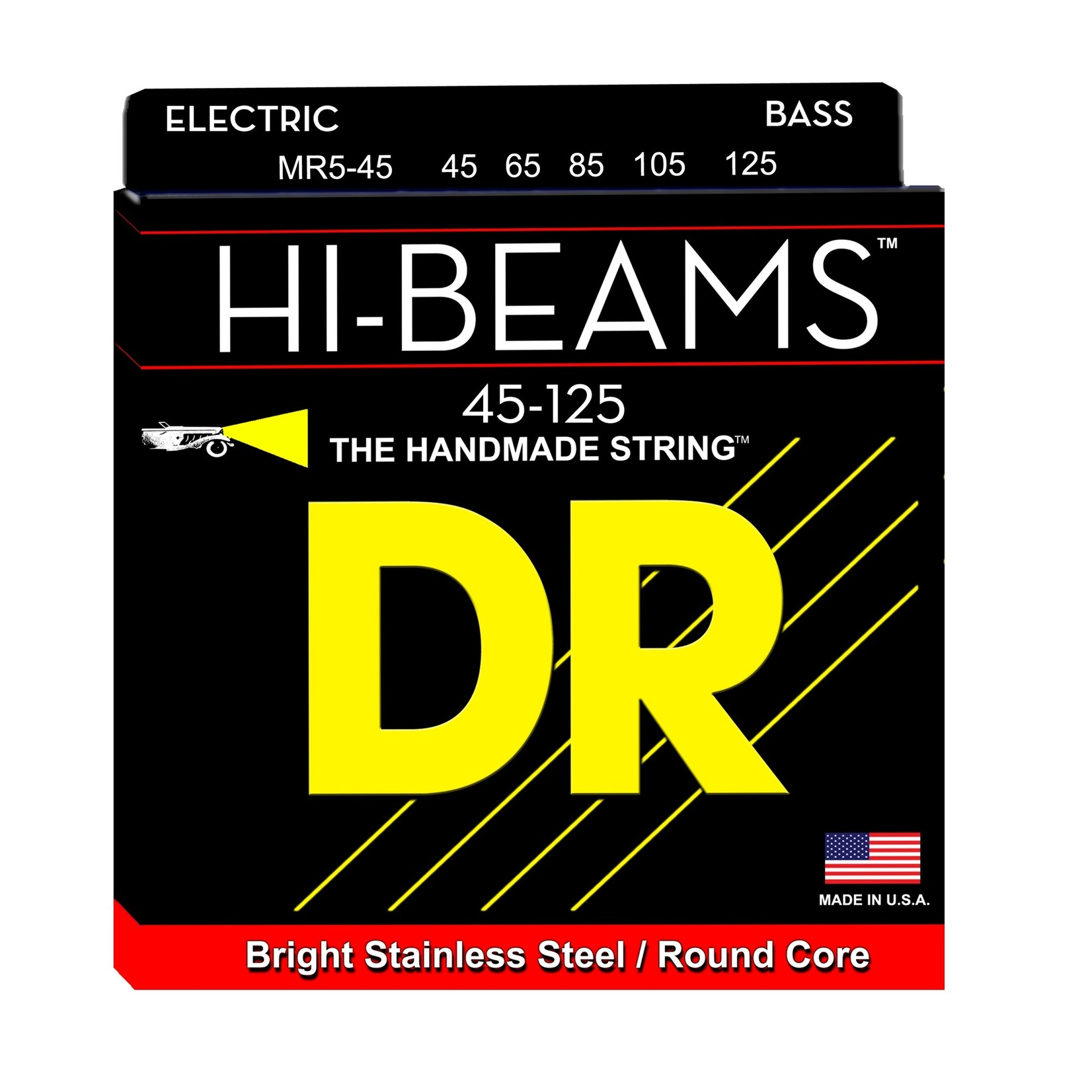 DR Strings DR Strings MR5-45 5-String Hi-Beams Stainless Steel / Round Core Bass Strings (45-125)