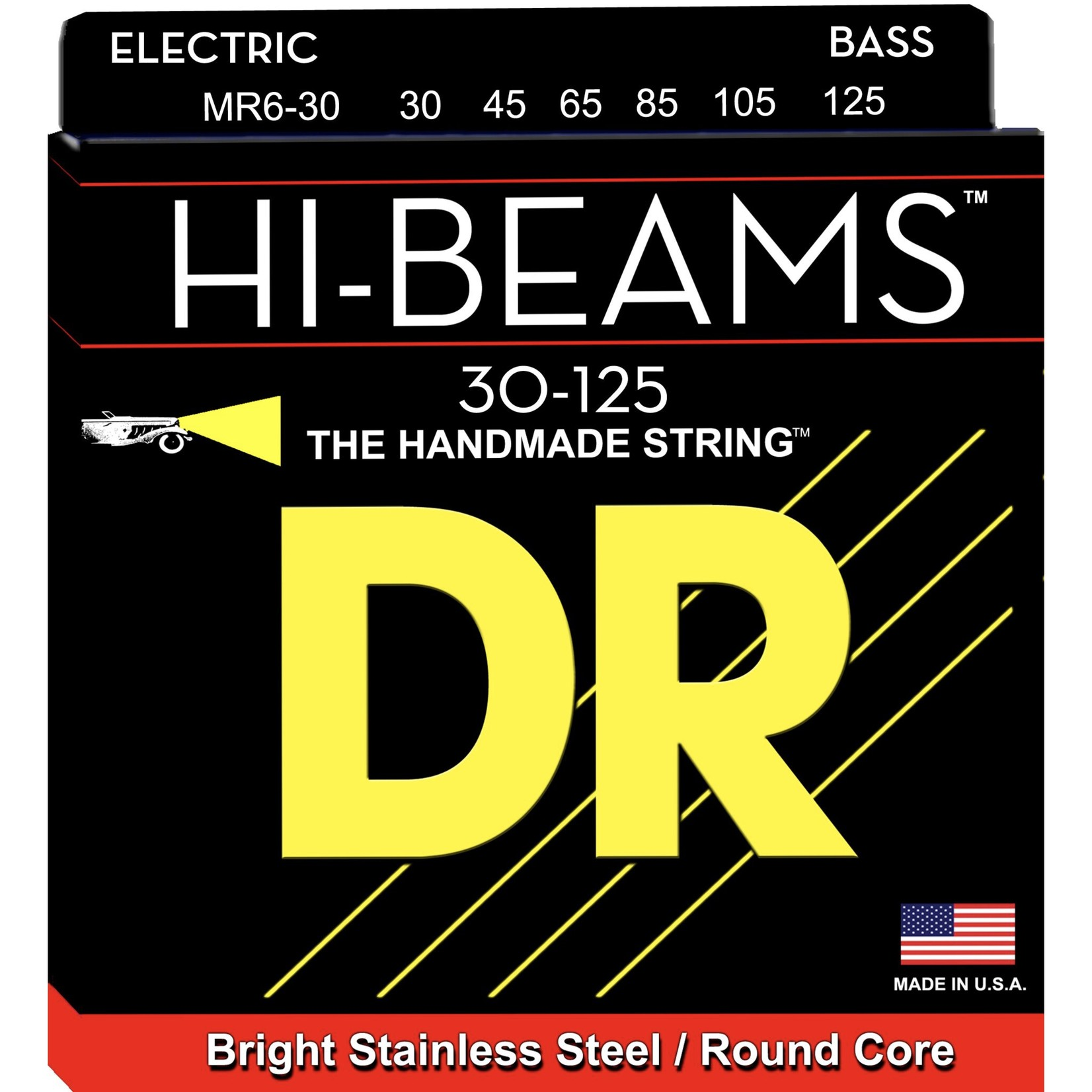 DR Strings DR Strings HI-BEAMª - Stainless Steel Bass Strings: 6-String Medium 30-125, MR6-30
