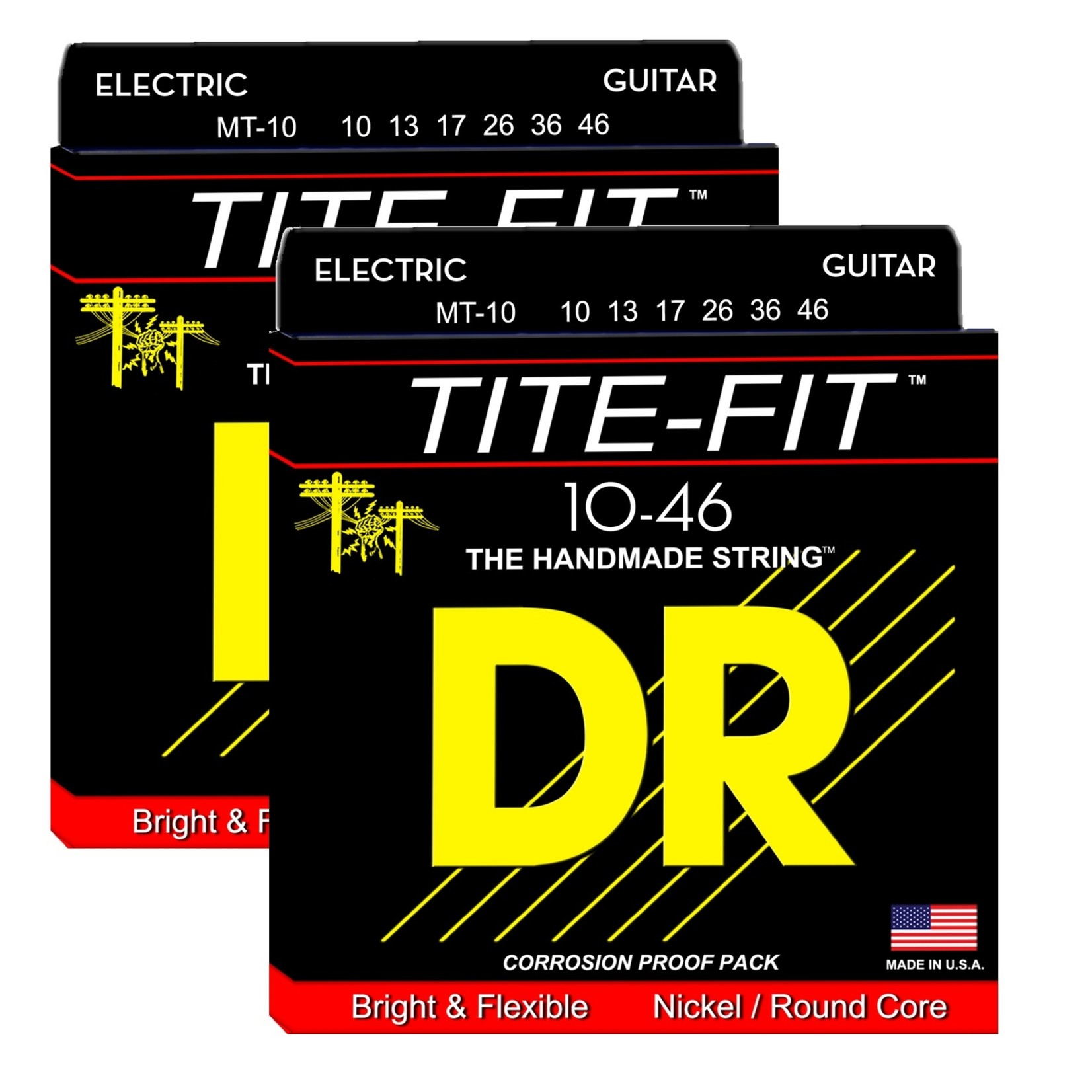 DR Strings 2x DR Strings MT-10 Tite-Fitª Electric Guitar Strings (10-46) - Nickel Plated on Round Cores