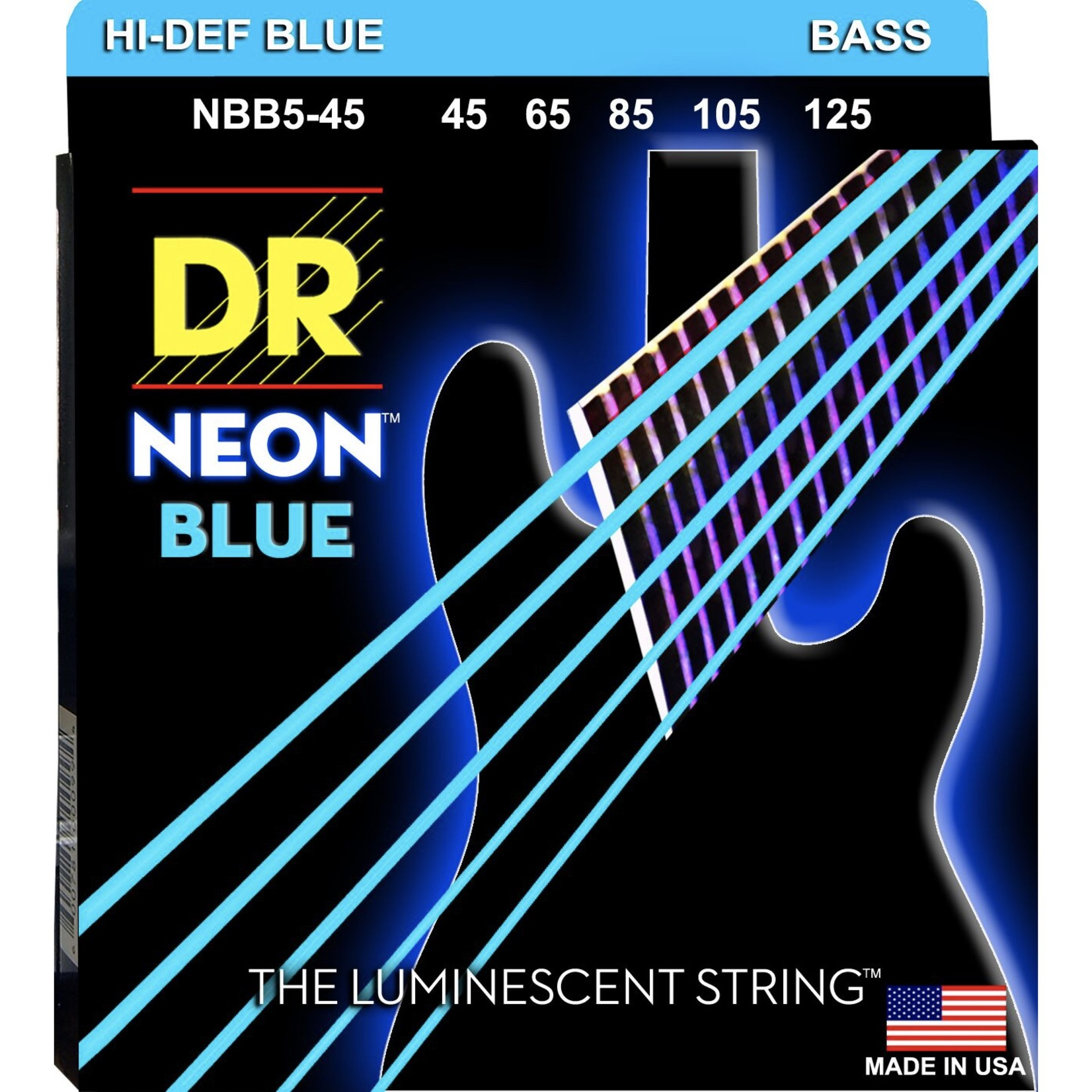 DR Strings DR Strings NBB5-45 Neon Hi-Def Blue Bass Strings, 45-125 Medium 5-String Set