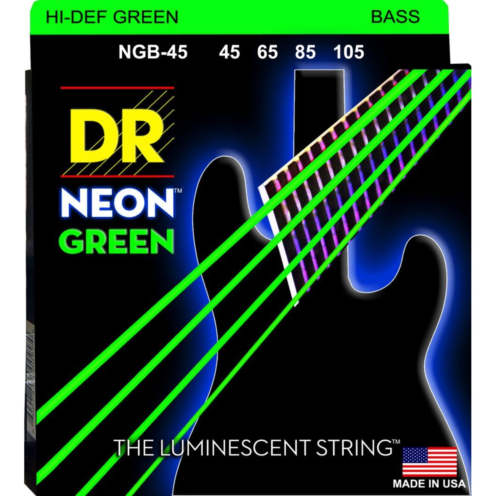 DR Strings DR Strings NGB-45 Neon Hi-Def Green Bass Strings, 45-105 Medium 4-String