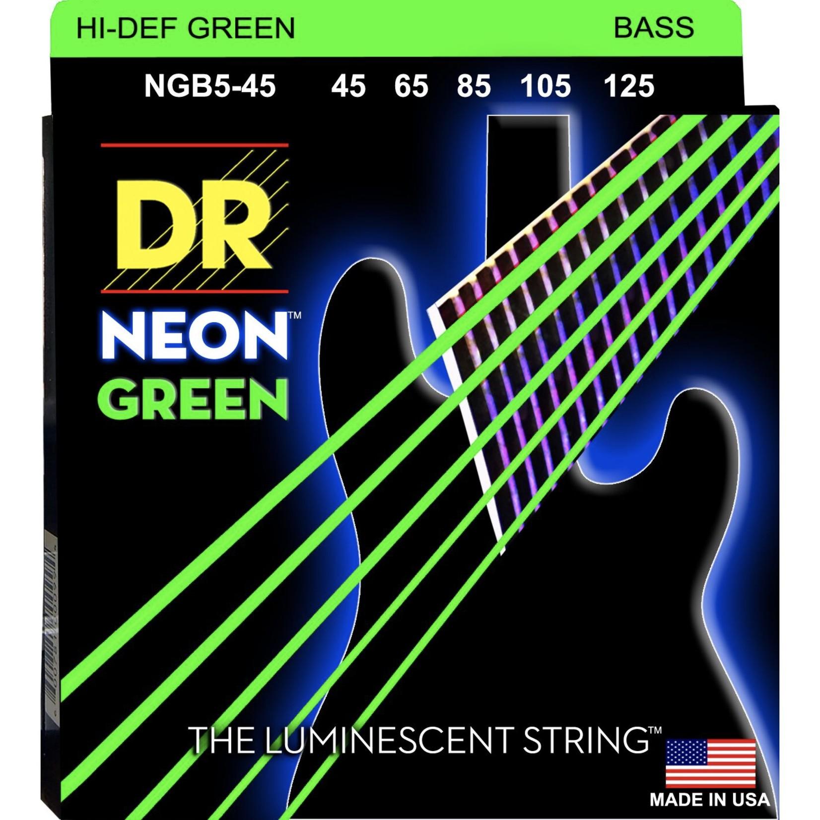 DR Strings DR Strings NGB5-45 Neon Hi-Def Green Bass Strings, 45-125 Medium 5-String.