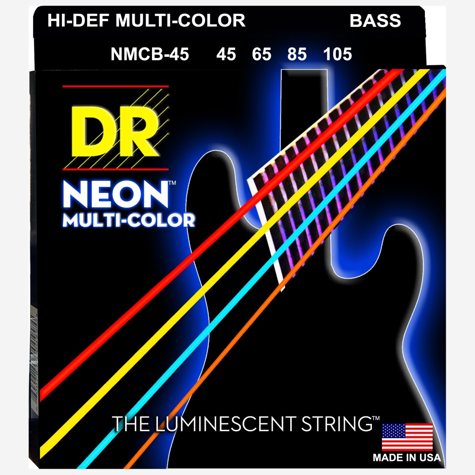 DR Strings DR Strings NMCB-45 Hi-Def Neon Multi-Color Bass Strings