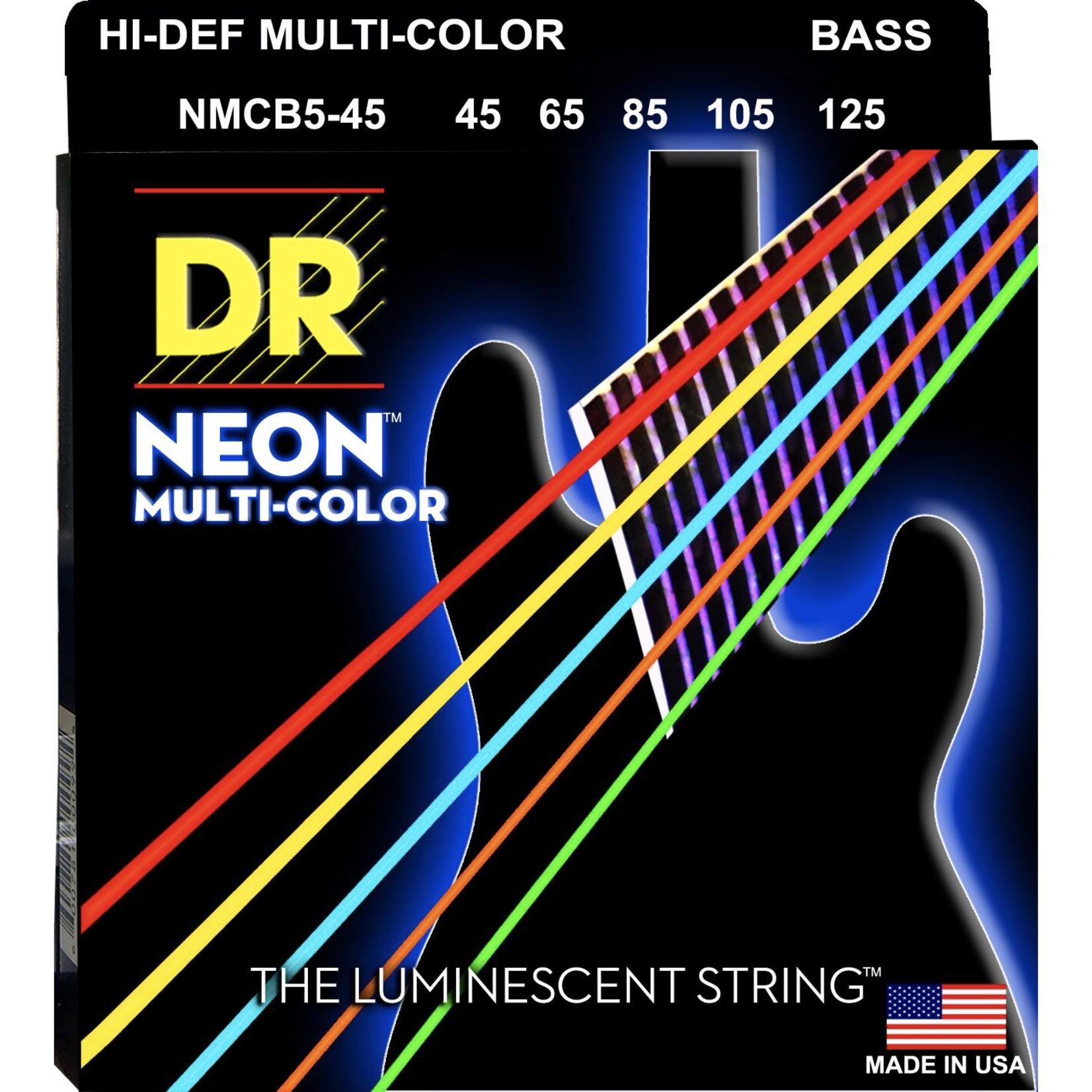 DR Strings DR Strings HI-DEF NEONª - Multi-Color Colored Bass Strings: 5-String Set, Medium 45-125, NMCB5-45